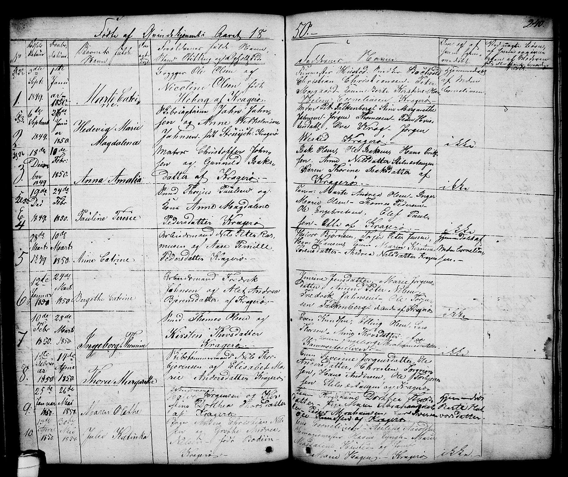 SAKO, Kragerø kirkebøker, G/Ga/L0003: Klokkerbok nr. 3, 1832-1852, s. 240