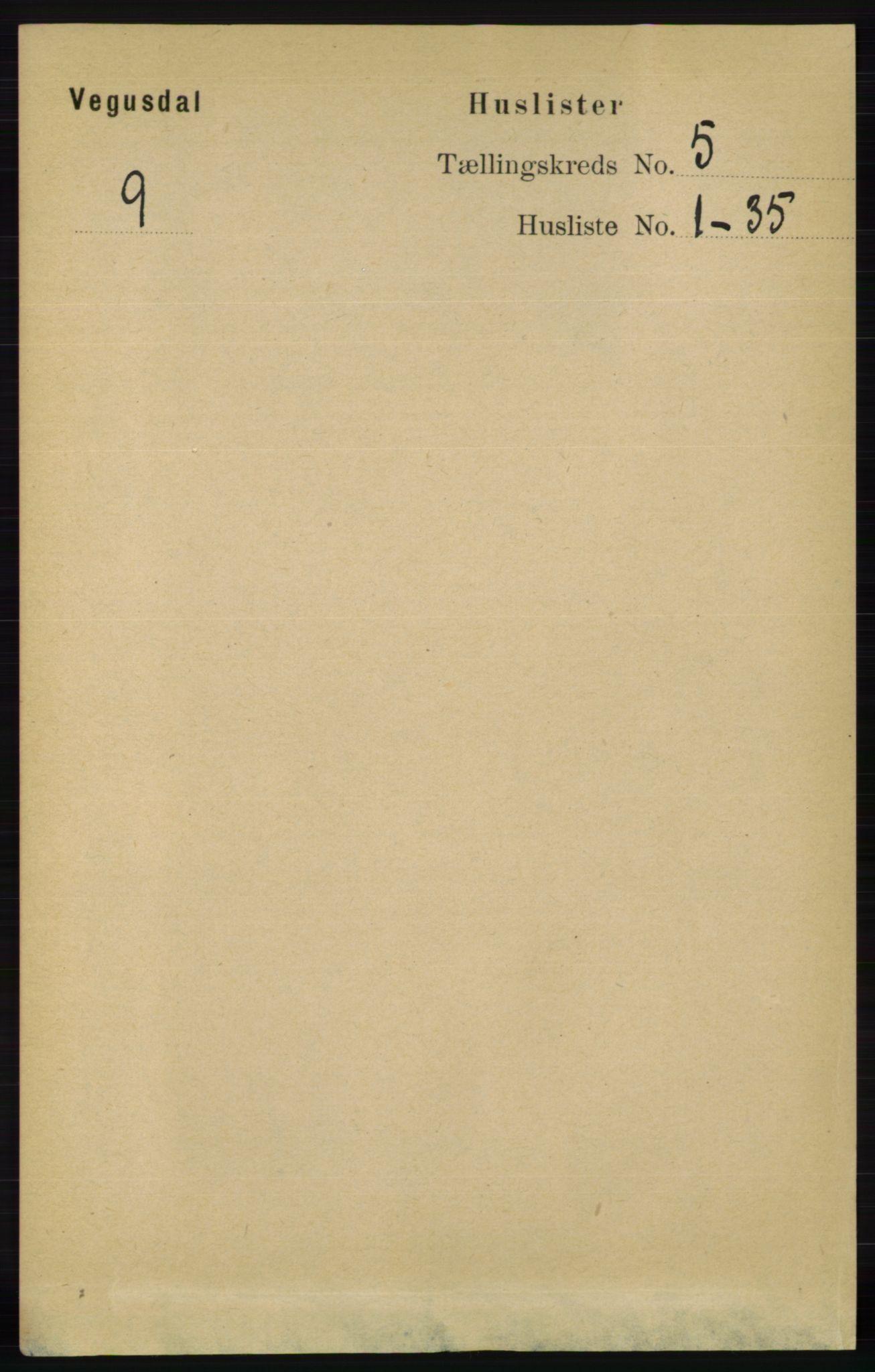 RA, Folketelling 1891 for 0934 Vegusdal herred, 1891, s. 847