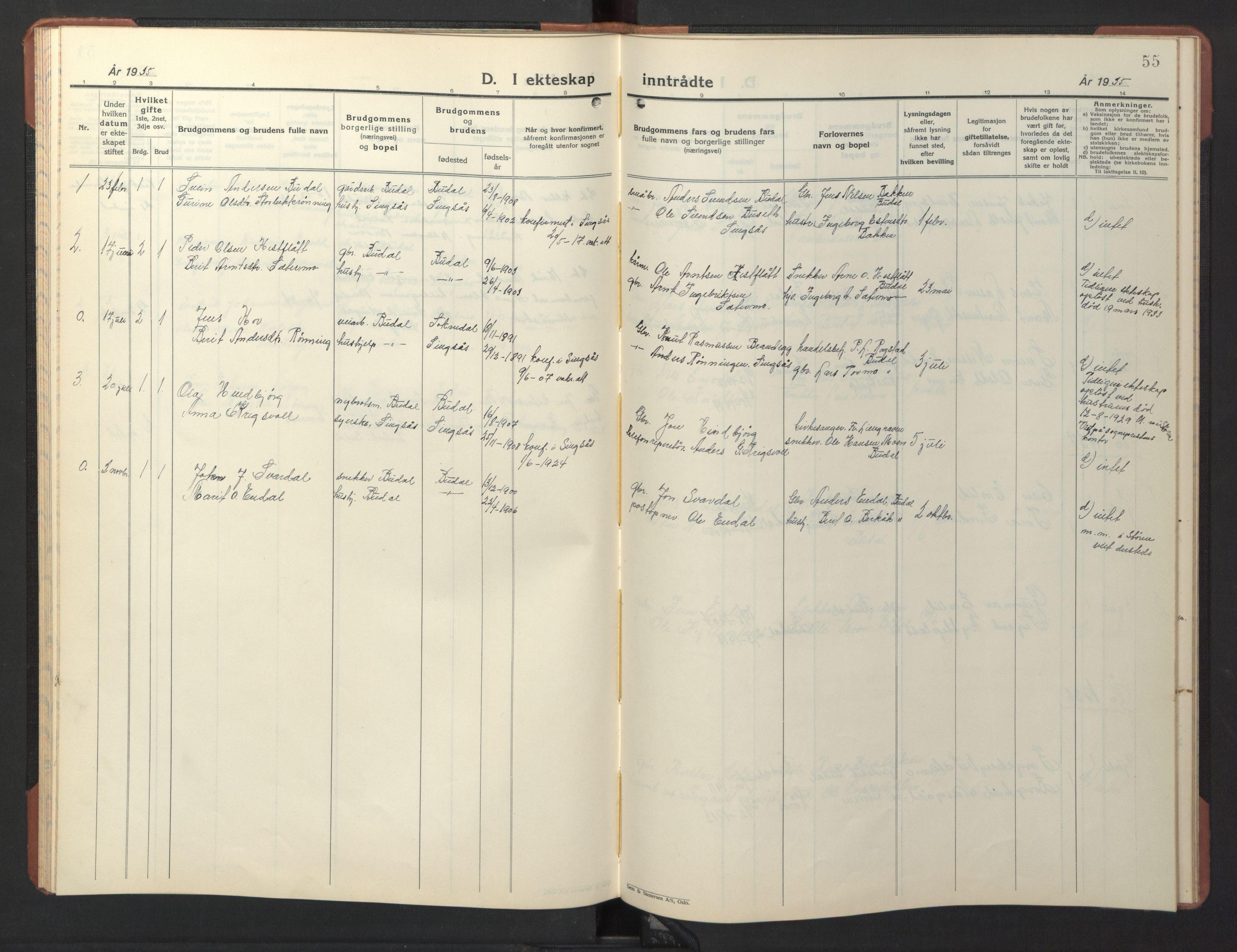 SAT, Ministerialprotokoller, klokkerbøker og fødselsregistre - Sør-Trøndelag, 690/L1053: Klokkerbok nr. 690C03, 1930-1947, s. 55