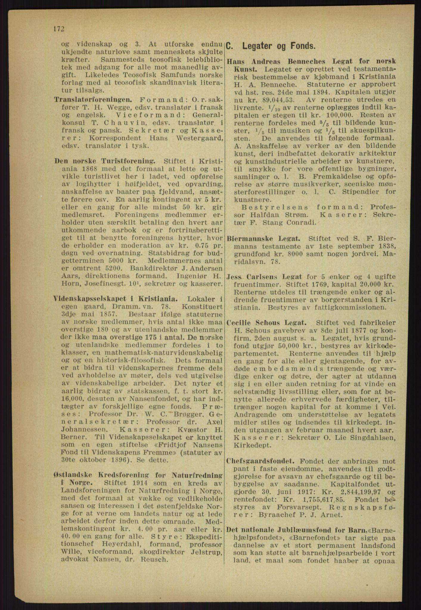 RA, Kristiania adressebok (publikasjon)*, 1918, s. 172