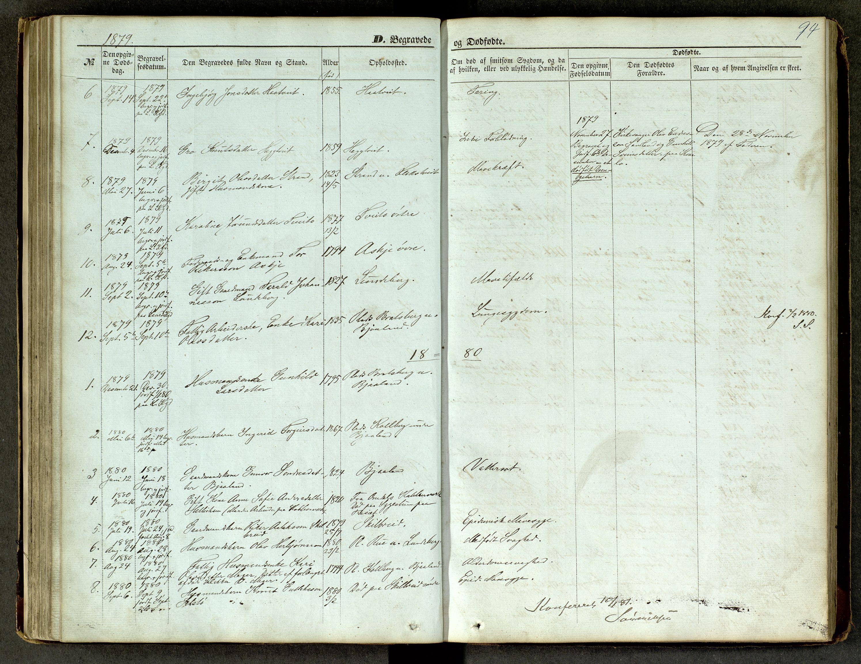 SAKO, Lårdal kirkebøker, G/Ga/L0002: Klokkerbok nr. I 2, 1861-1890, s. 94