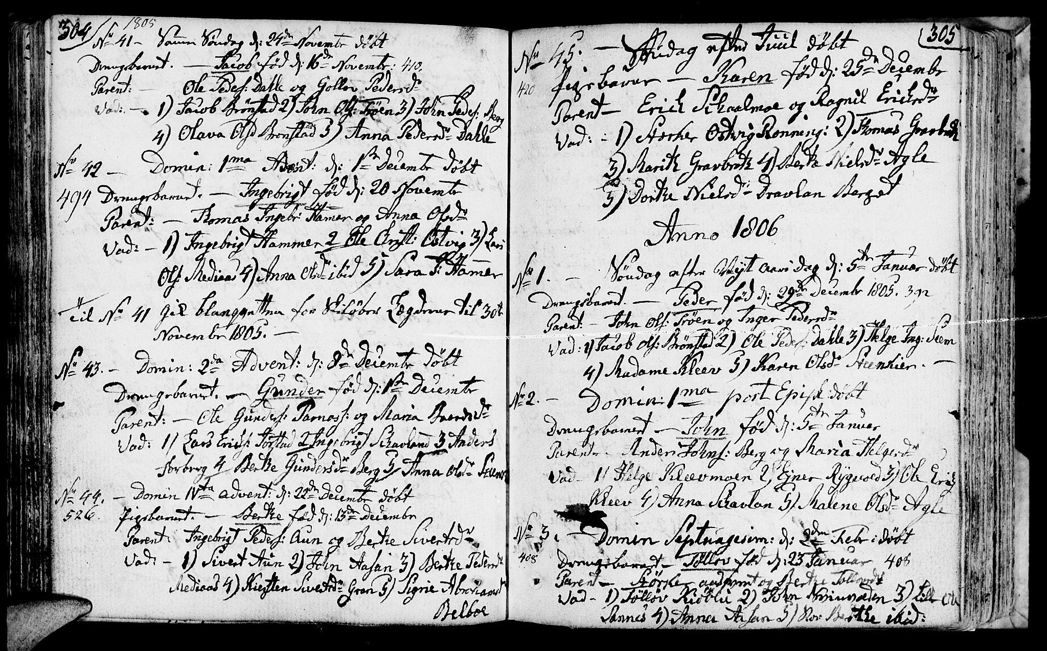 SAT, Ministerialprotokoller, klokkerbøker og fødselsregistre - Nord-Trøndelag, 749/L0468: Ministerialbok nr. 749A02, 1787-1817, s. 304-305