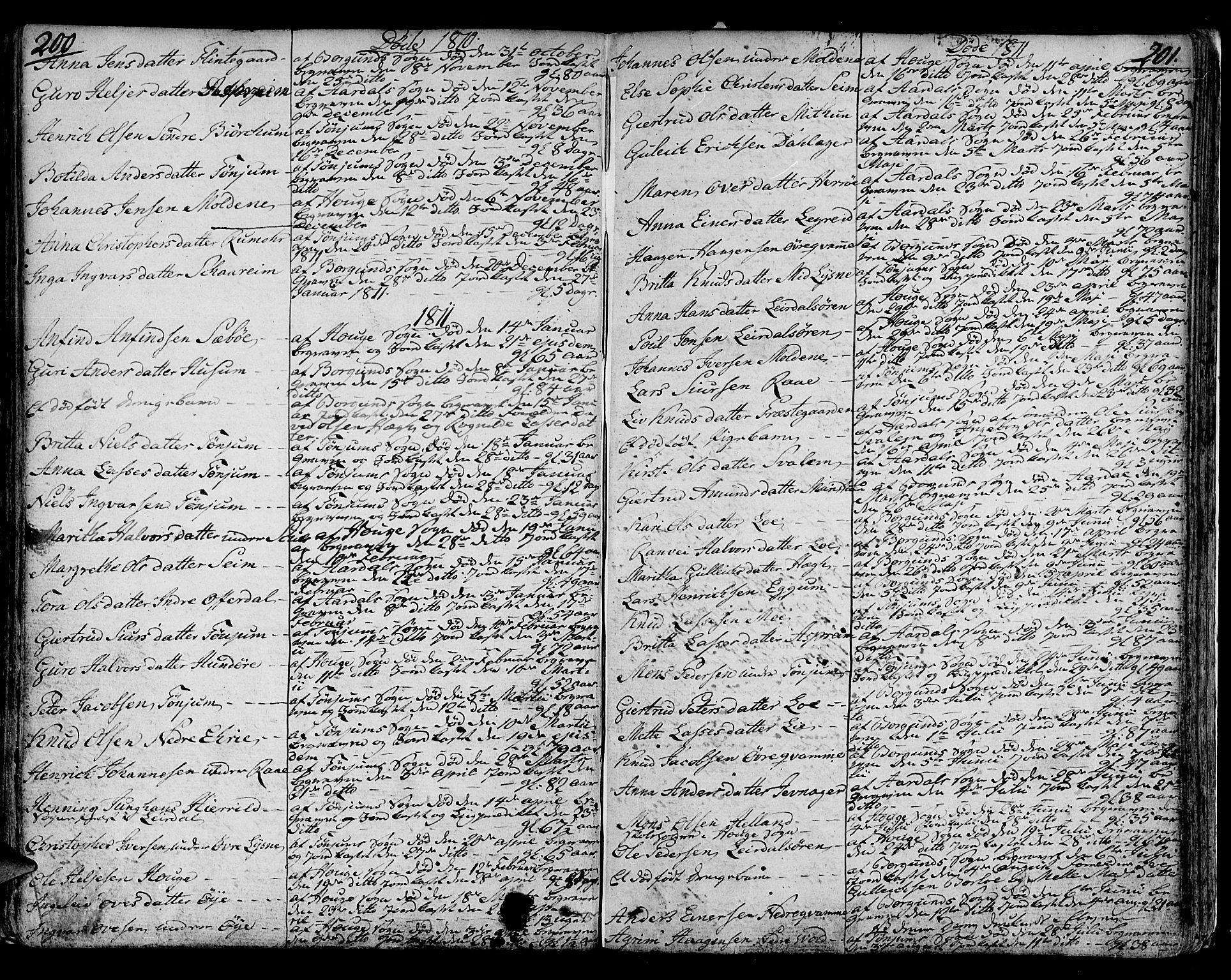 SAB, Lærdal sokneprestembete, Ministerialbok nr. A 4, 1805-1821, s. 200-201