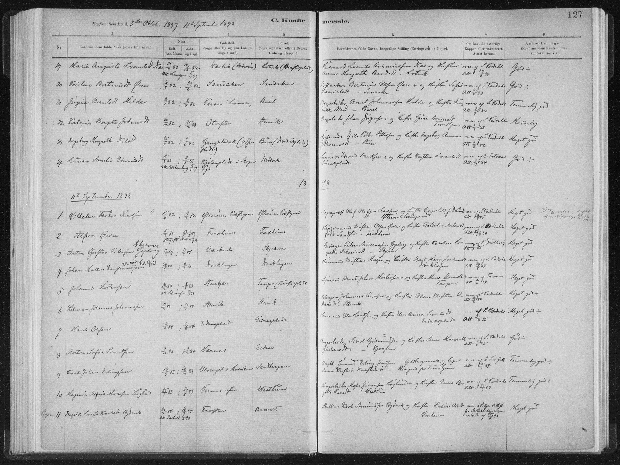 SAT, Ministerialprotokoller, klokkerbøker og fødselsregistre - Nord-Trøndelag, 722/L0220: Ministerialbok nr. 722A07, 1881-1908, s. 127