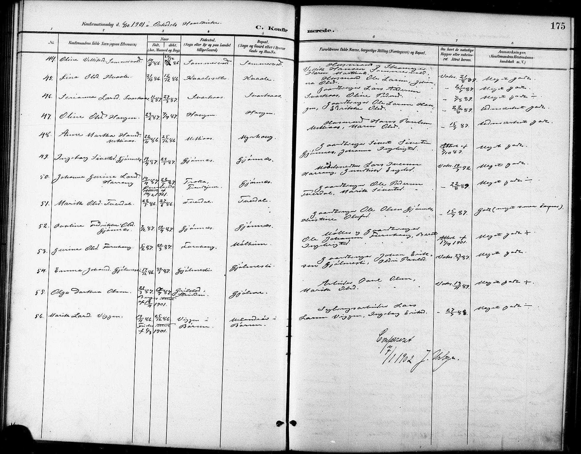 SAT, Ministerialprotokoller, klokkerbøker og fødselsregistre - Sør-Trøndelag, 668/L0819: Klokkerbok nr. 668C08, 1899-1912, s. 175