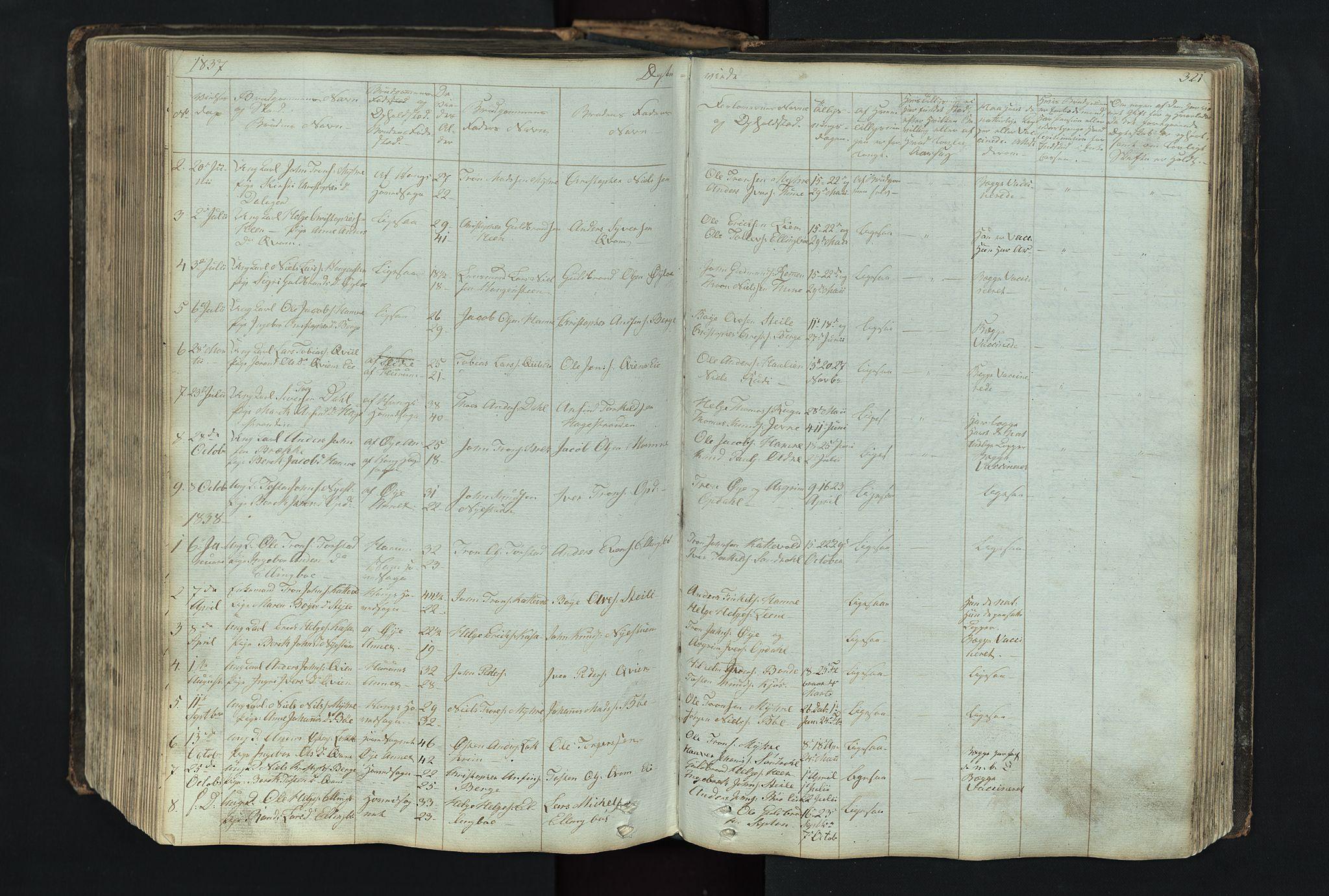SAH, Vang prestekontor, Valdres, Klokkerbok nr. 4, 1835-1892, s. 321