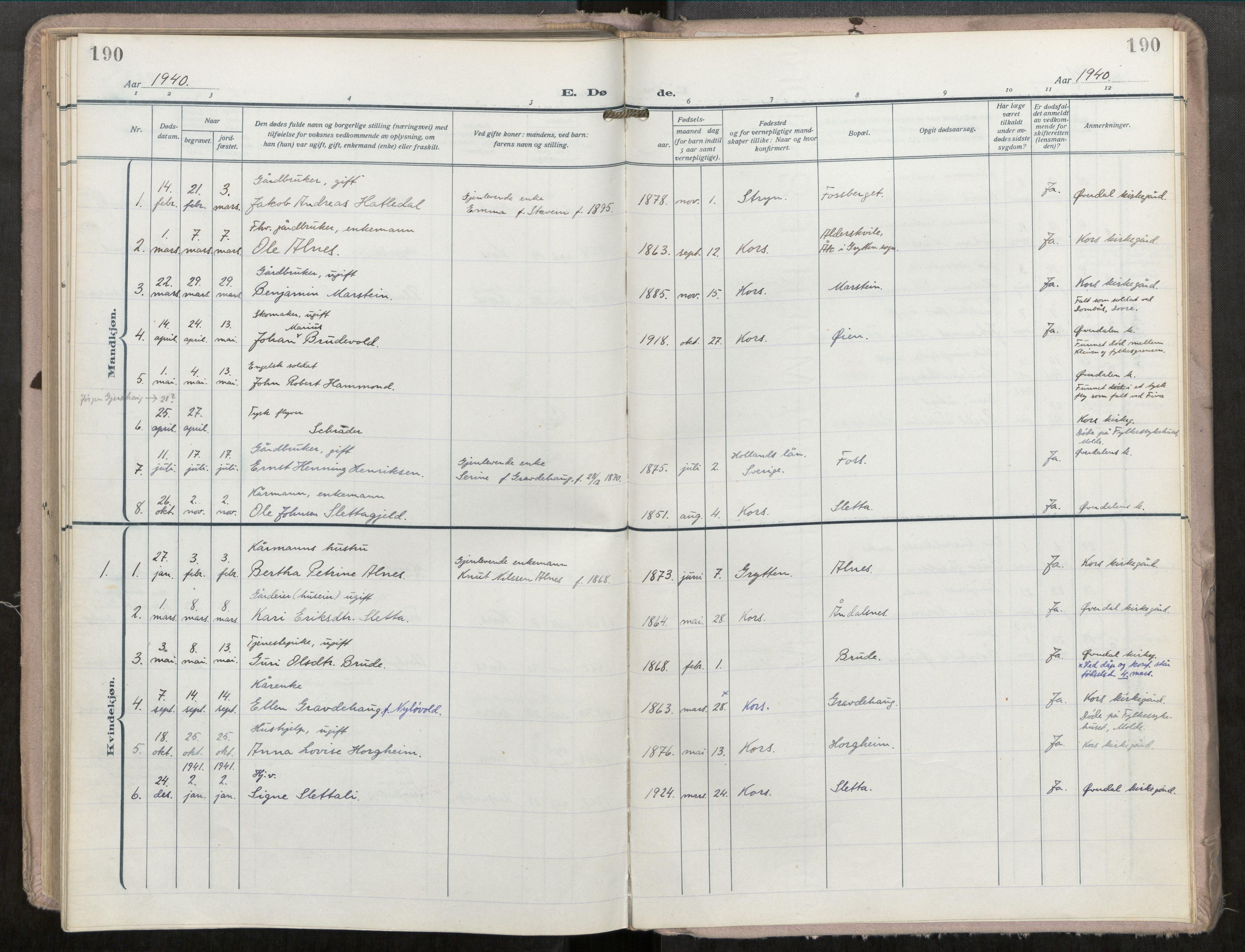 SAT, Grytten sokneprestkontor, Ministerialbok nr. 546A04, 1919-1956, s. 190