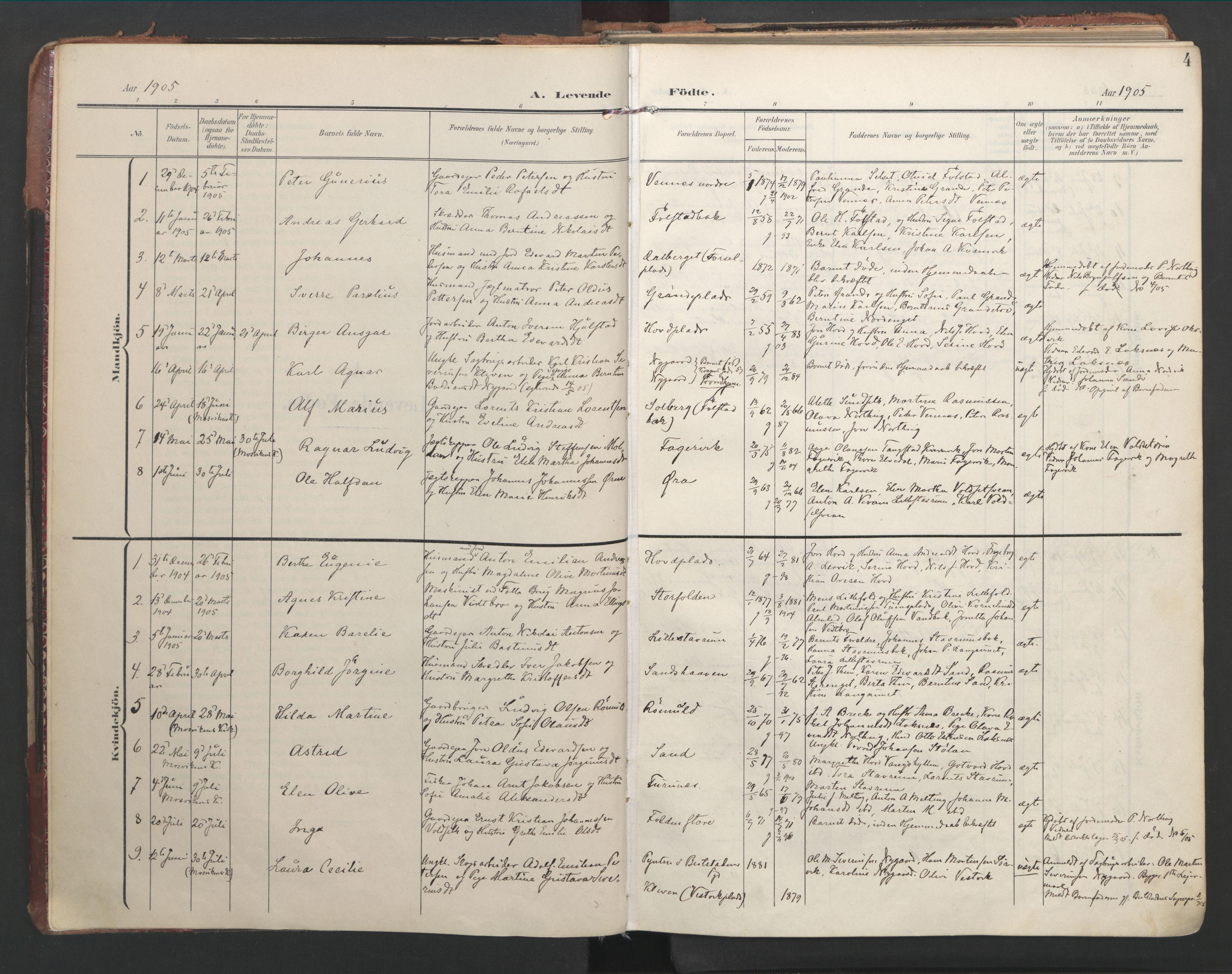 SAT, Ministerialprotokoller, klokkerbøker og fødselsregistre - Nord-Trøndelag, 744/L0421: Ministerialbok nr. 744A05, 1905-1930, s. 4