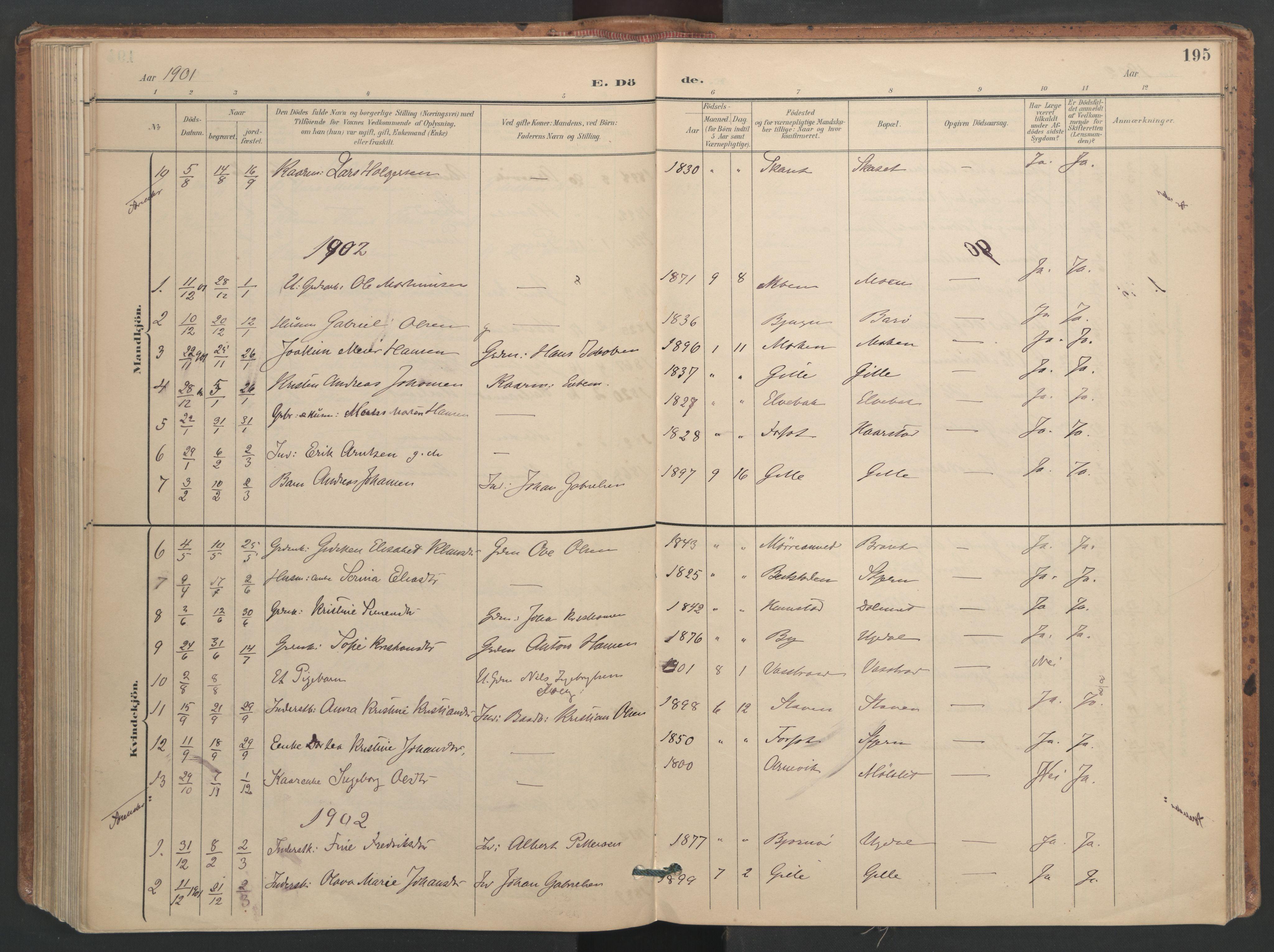 SAT, Ministerialprotokoller, klokkerbøker og fødselsregistre - Sør-Trøndelag, 655/L0681: Ministerialbok nr. 655A10, 1895-1907, s. 195