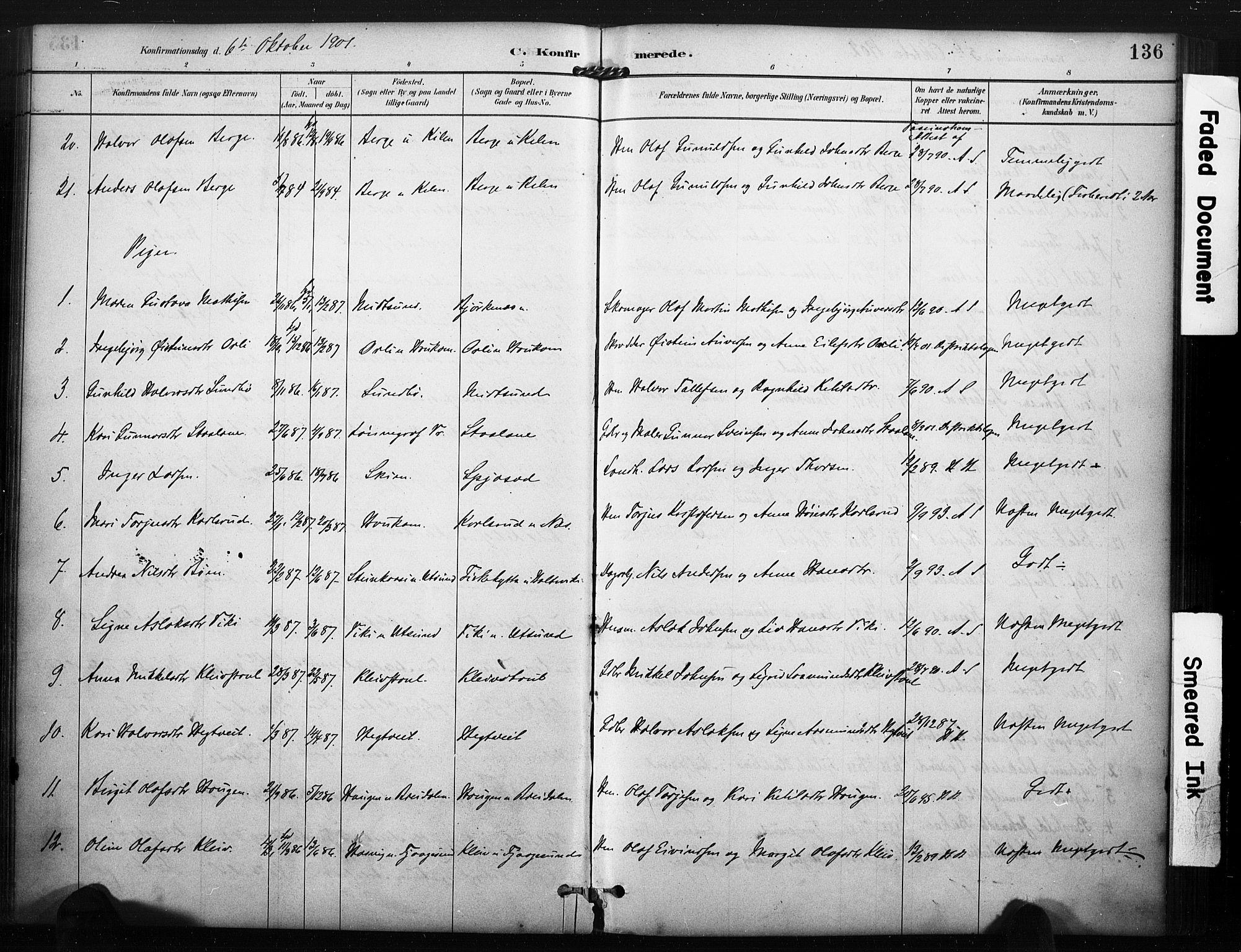 SAKO, Kviteseid kirkebøker, F/Fa/L0008: Ministerialbok nr. I 8, 1882-1903, s. 136