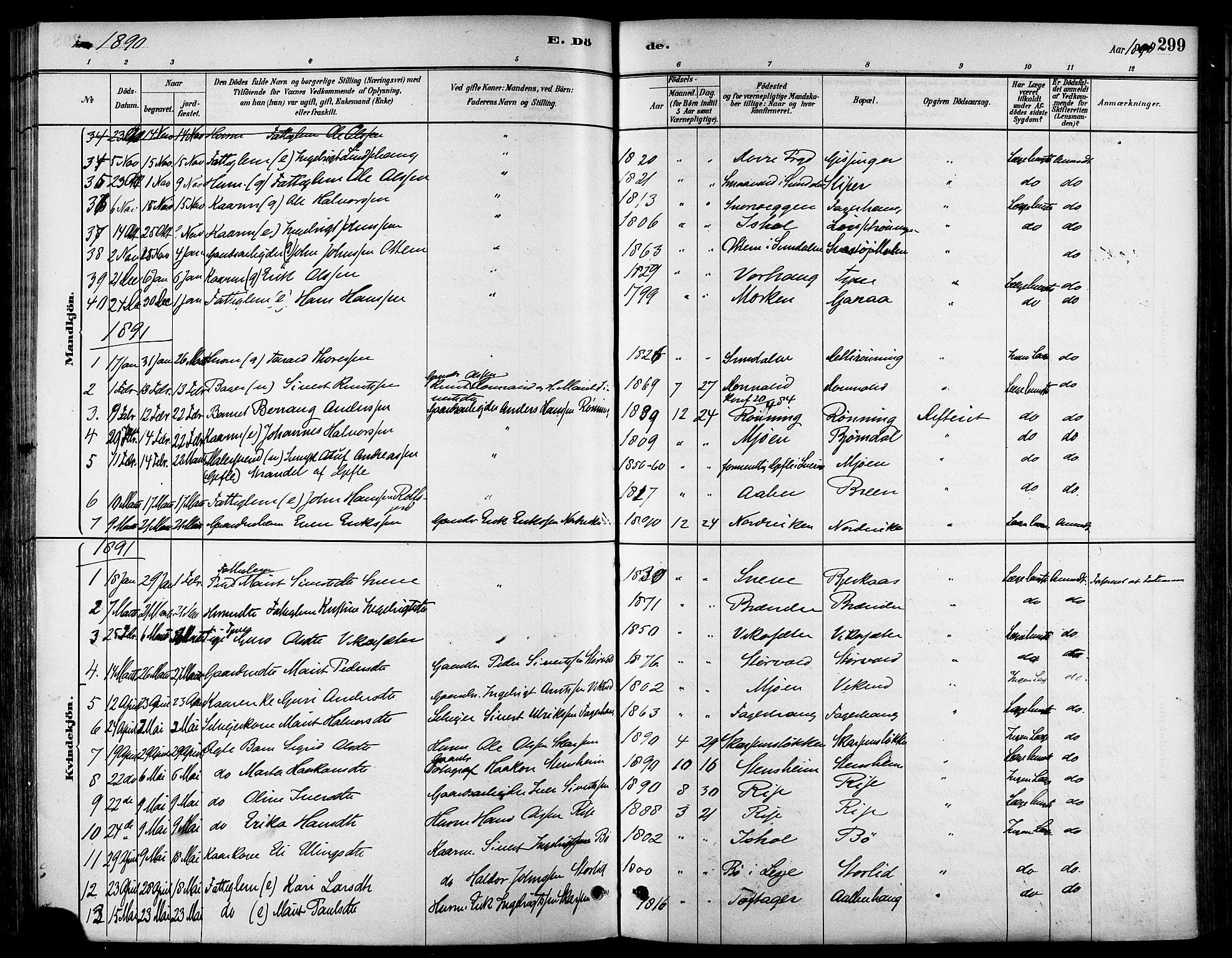 SAT, Ministerialprotokoller, klokkerbøker og fødselsregistre - Sør-Trøndelag, 678/L0901: Ministerialbok nr. 678A10, 1881-1894, s. 299