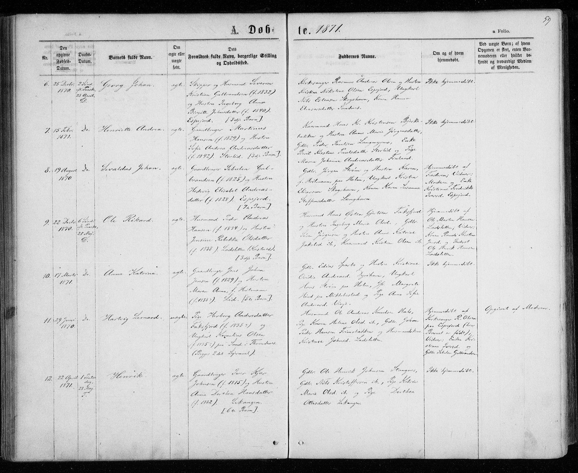 SATØ, Tranøy sokneprestkontor, I/Ia/Iaa/L0008kirke: Ministerialbok nr. 8, 1867-1877, s. 59