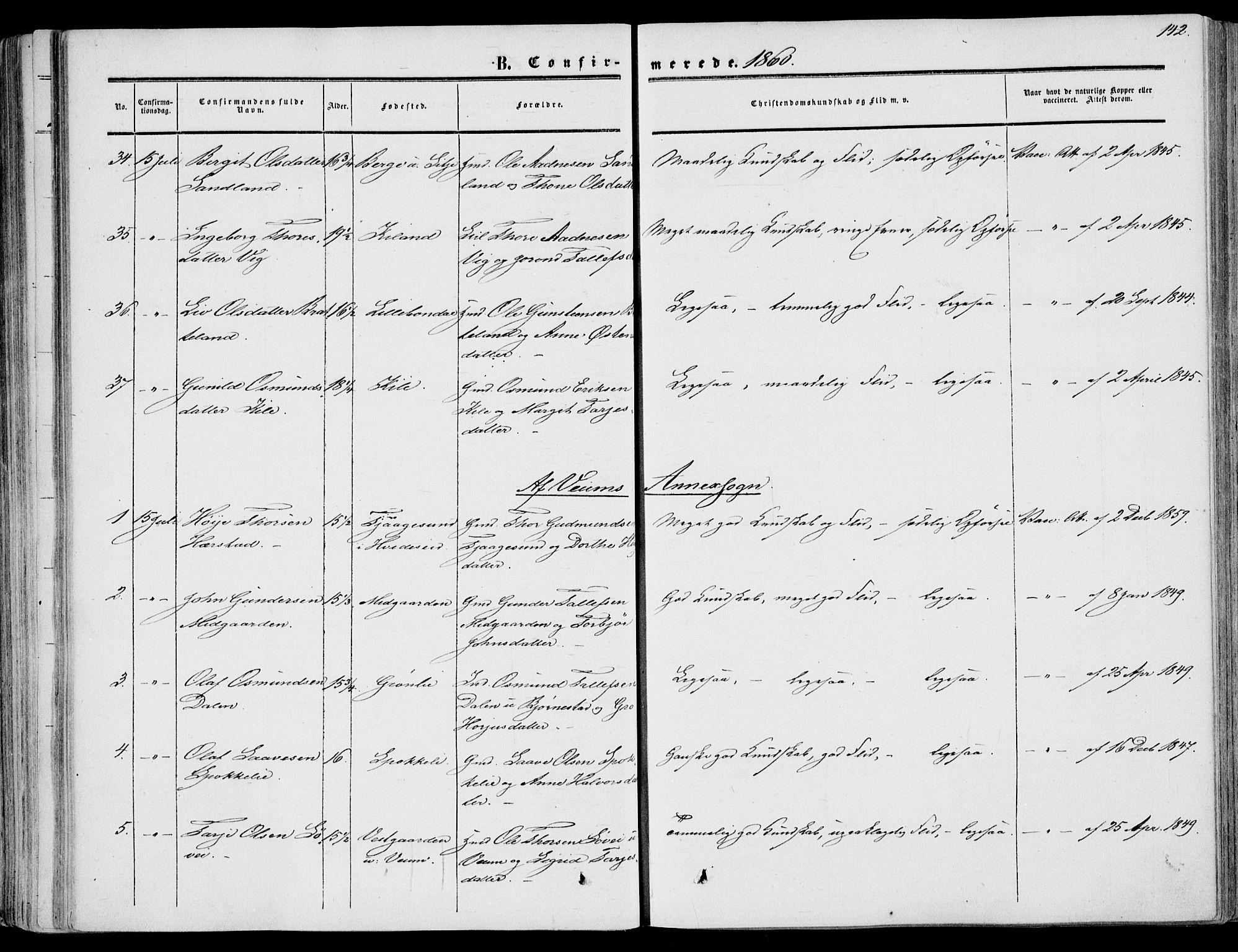 SAKO, Fyresdal kirkebøker, F/Fa/L0005: Ministerialbok nr. I 5, 1855-1871, s. 142