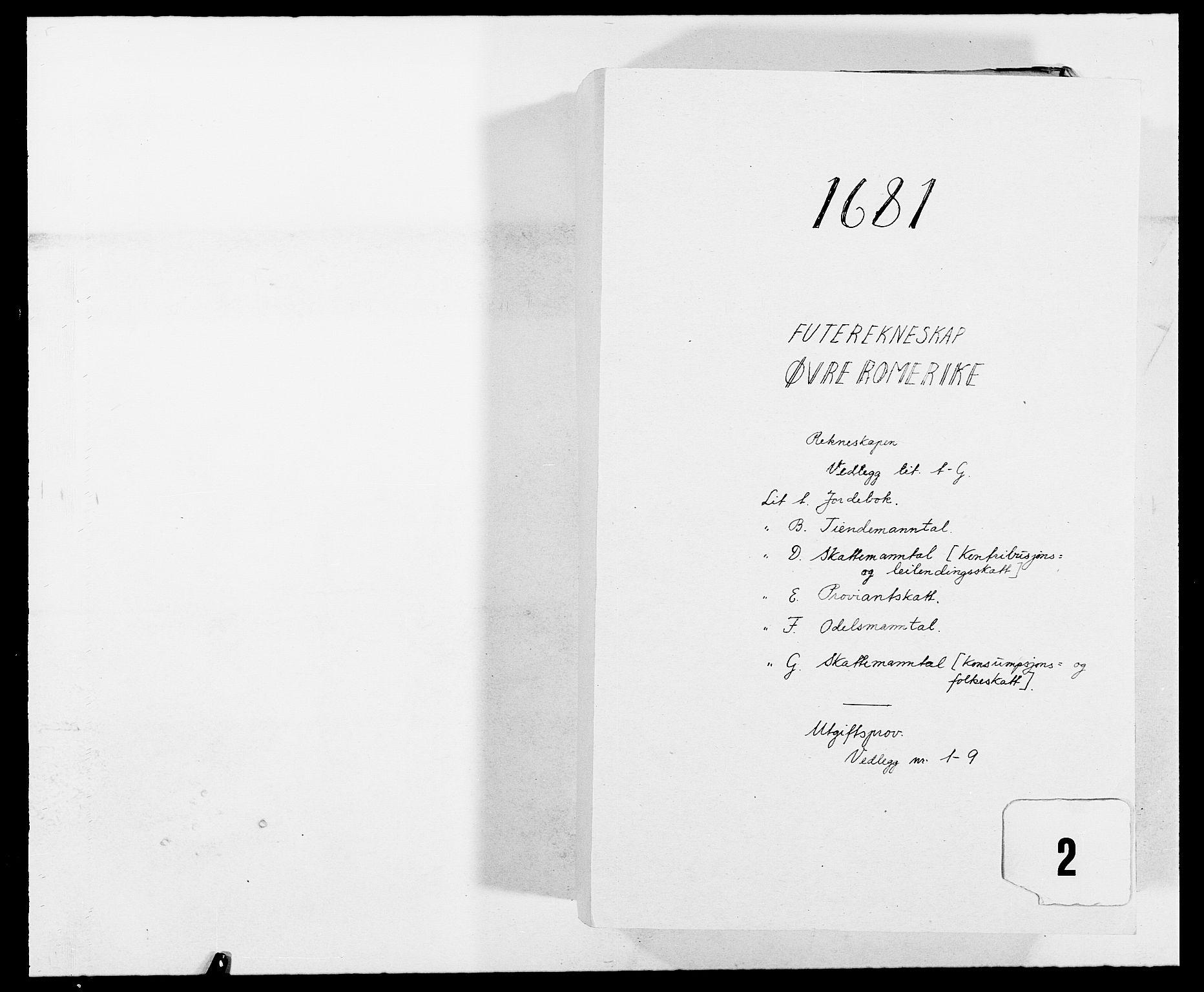 RA, Rentekammeret inntil 1814, Reviderte regnskaper, Fogderegnskap, R12/L0696: Fogderegnskap Øvre Romerike, 1681, s. 1