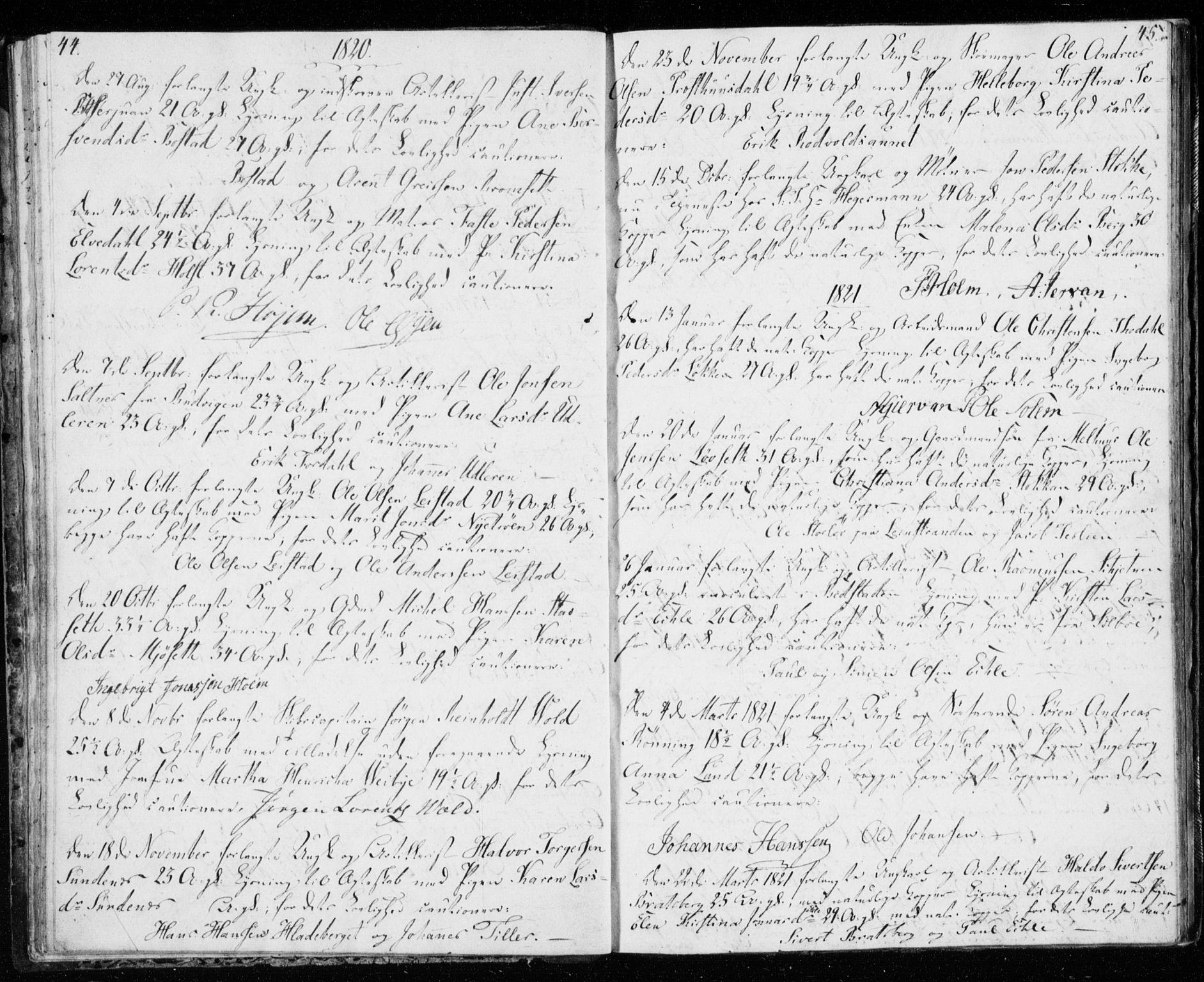 SAT, Ministerialprotokoller, klokkerbøker og fødselsregistre - Sør-Trøndelag, 606/L0295: Lysningsprotokoll nr. 606A10, 1815-1833, s. 44-45