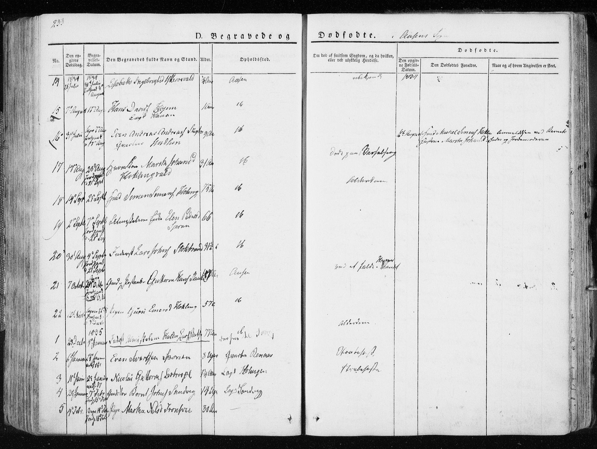 SAT, Ministerialprotokoller, klokkerbøker og fødselsregistre - Nord-Trøndelag, 713/L0114: Ministerialbok nr. 713A05, 1827-1839, s. 233