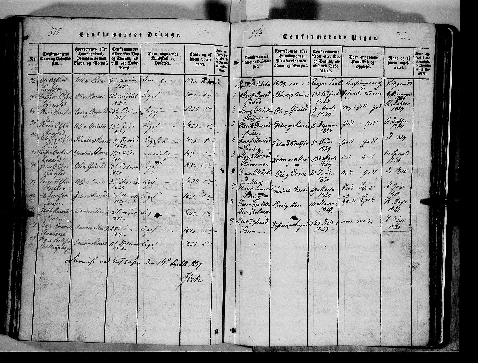 SAH, Lom prestekontor, L/L0003: Klokkerbok nr. 3, 1815-1844, s. 515-516