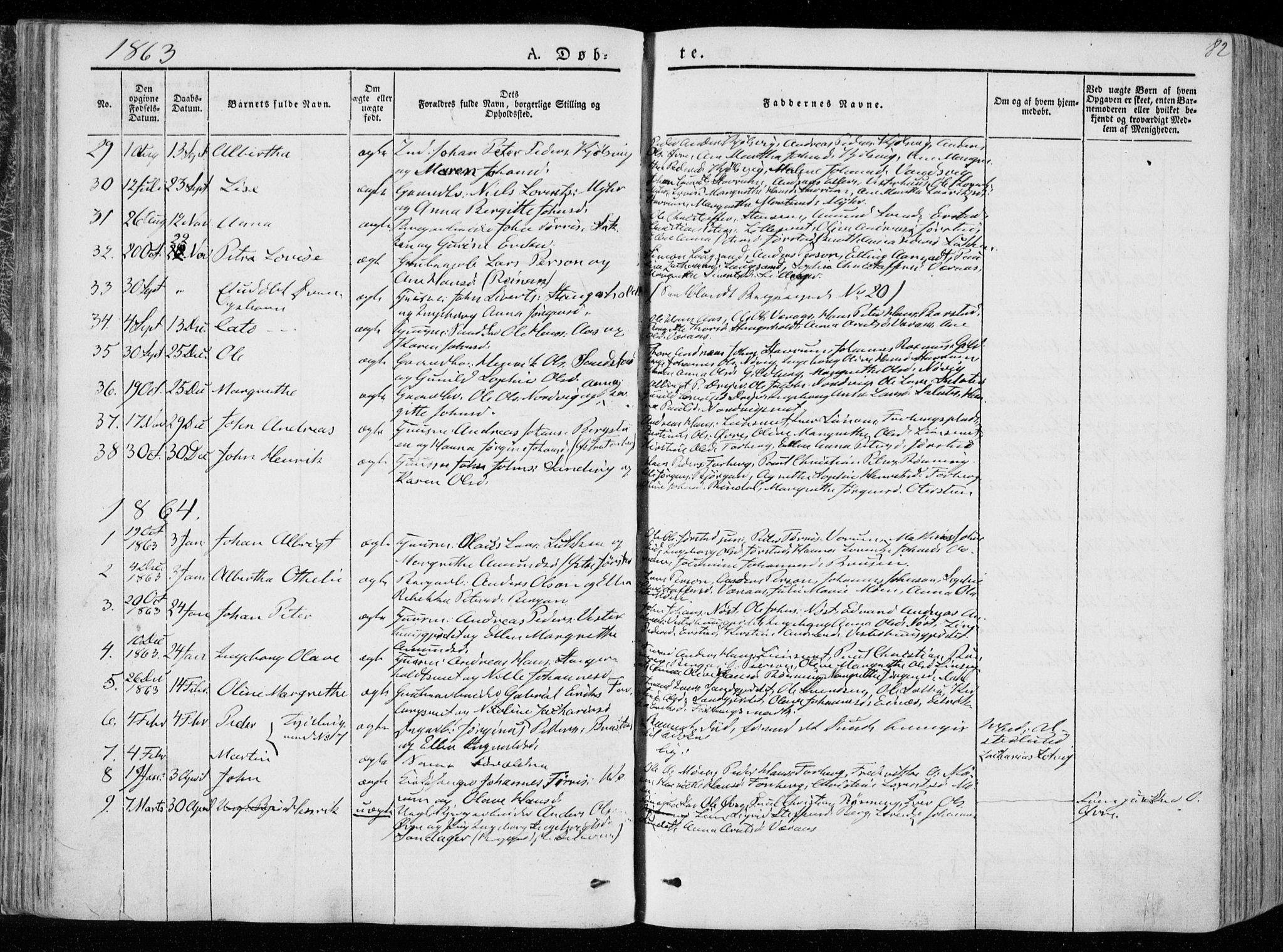 SAT, Ministerialprotokoller, klokkerbøker og fødselsregistre - Nord-Trøndelag, 722/L0218: Ministerialbok nr. 722A05, 1843-1868, s. 82