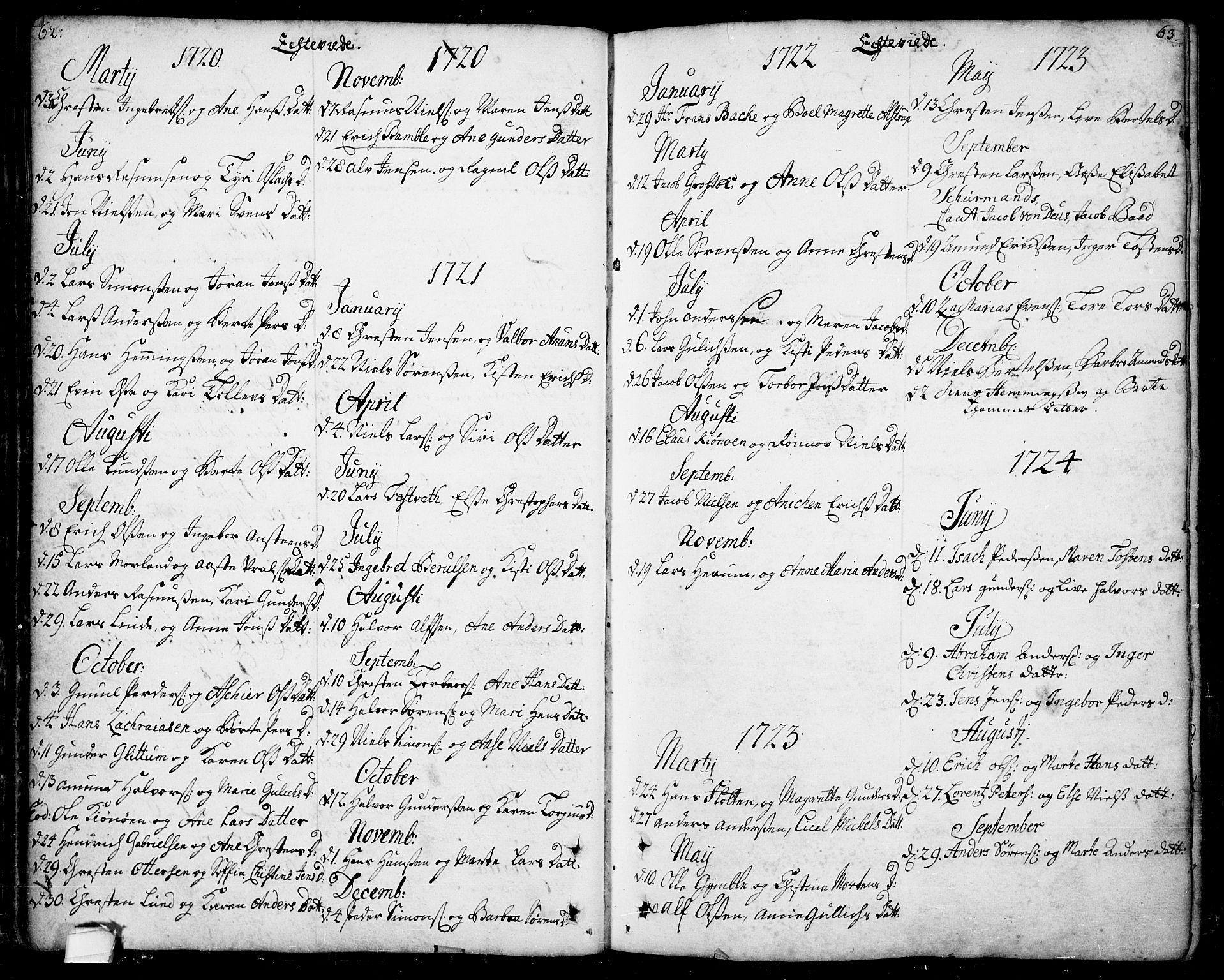 SAKO, Bamble kirkebøker, F/Fa/L0001: Ministerialbok nr. I 1, 1702-1774, s. 62-63