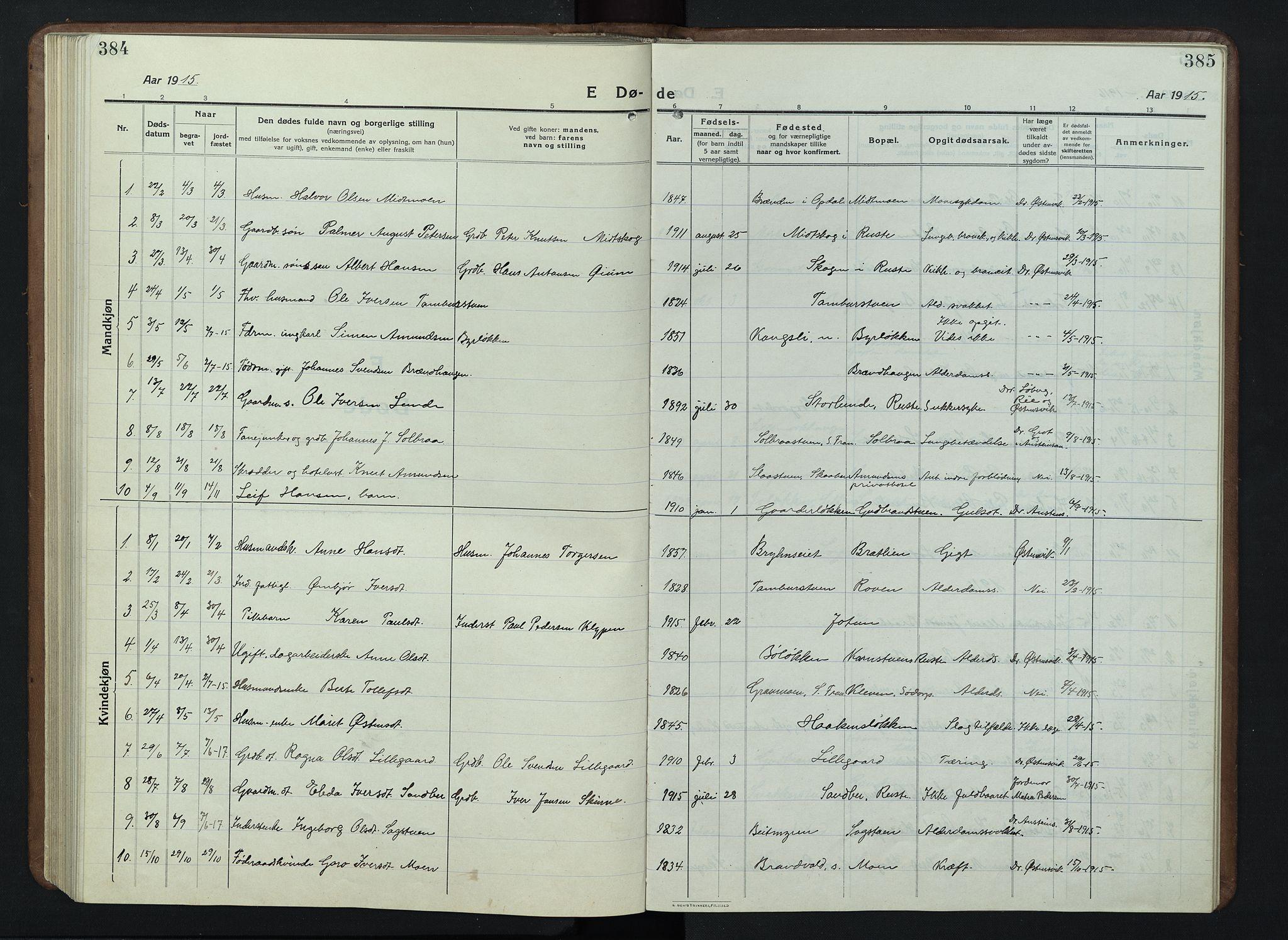 SAH, Nord-Fron prestekontor, Klokkerbok nr. 7, 1915-1946, s. 384-385