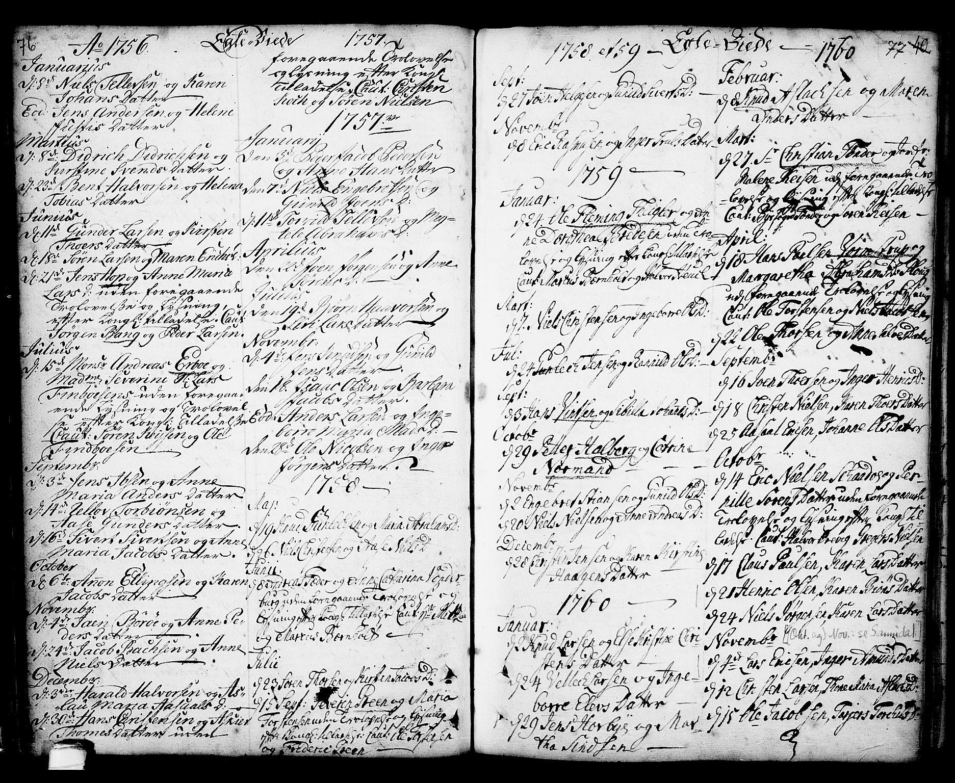 SAKO, Kragerø kirkebøker, F/Fa/L0001: Ministerialbok nr. 1, 1702-1766, s. 76-77