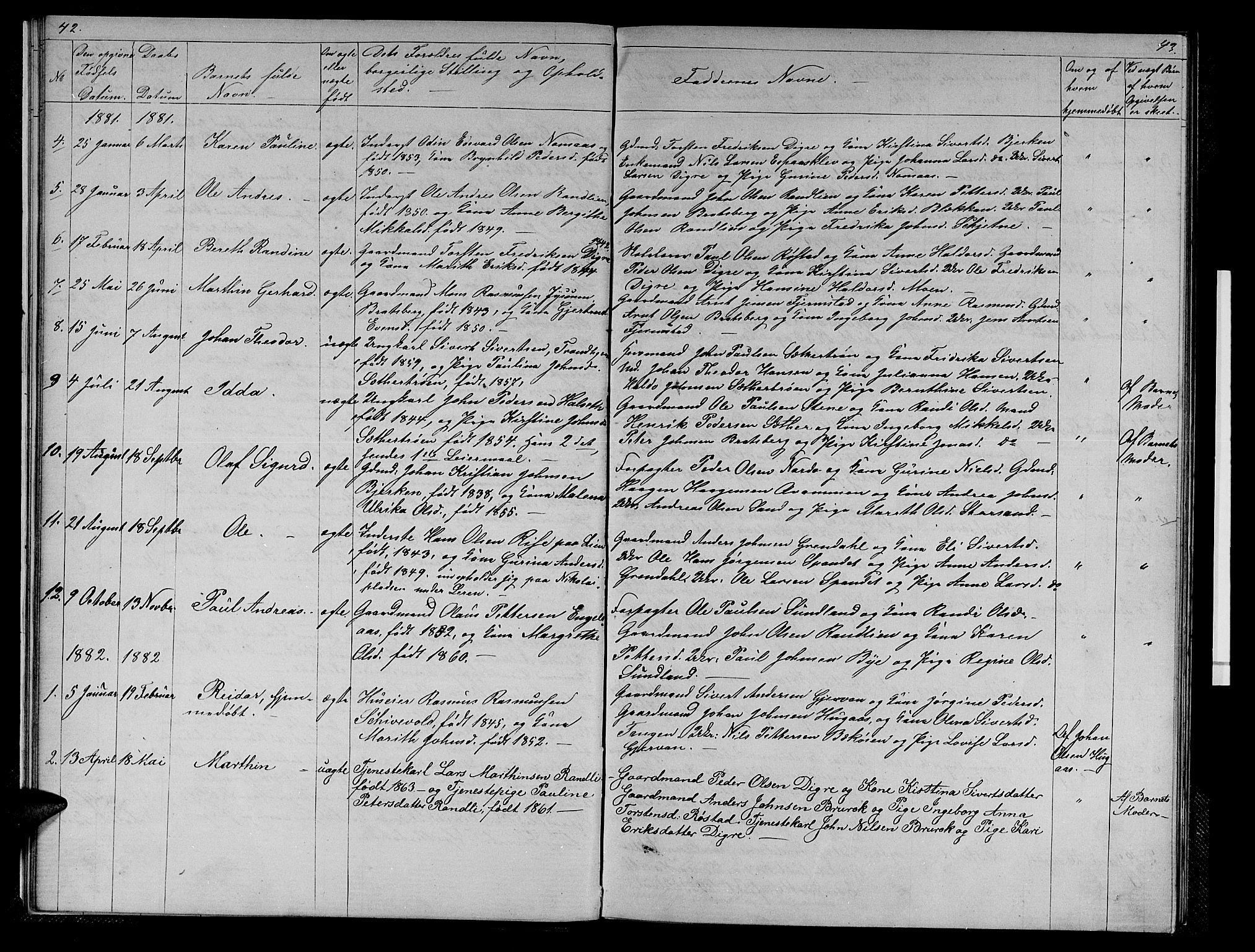 SAT, Ministerialprotokoller, klokkerbøker og fødselsregistre - Sør-Trøndelag, 608/L0340: Klokkerbok nr. 608C06, 1864-1889, s. 42-43