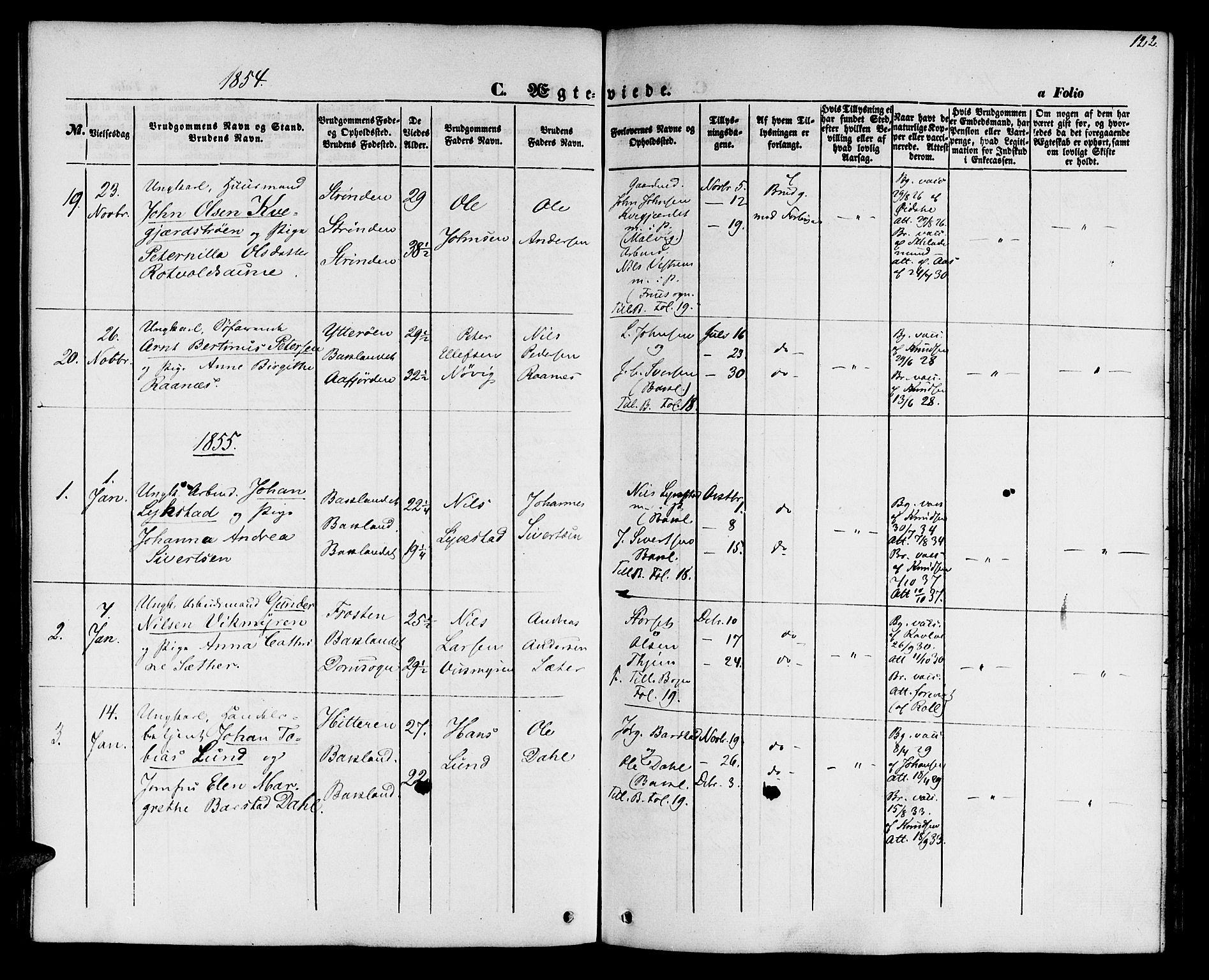 SAT, Ministerialprotokoller, klokkerbøker og fødselsregistre - Sør-Trøndelag, 604/L0184: Ministerialbok nr. 604A05, 1851-1860, s. 122
