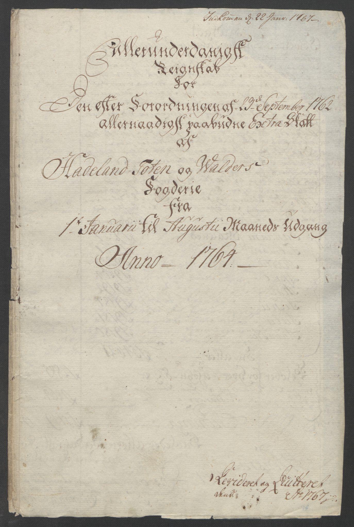 RA, Rentekammeret inntil 1814, Reviderte regnskaper, Fogderegnskap, R19/L1399: Fogderegnskap Toten, Hadeland og Vardal, 1762-1783, s. 45