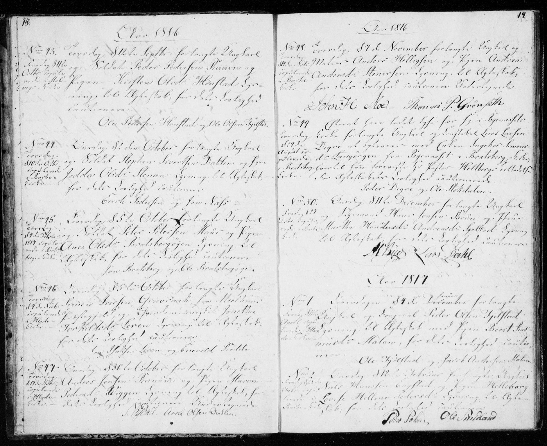 SAT, Ministerialprotokoller, klokkerbøker og fødselsregistre - Sør-Trøndelag, 606/L0295: Lysningsprotokoll nr. 606A10, 1815-1833, s. 18-19