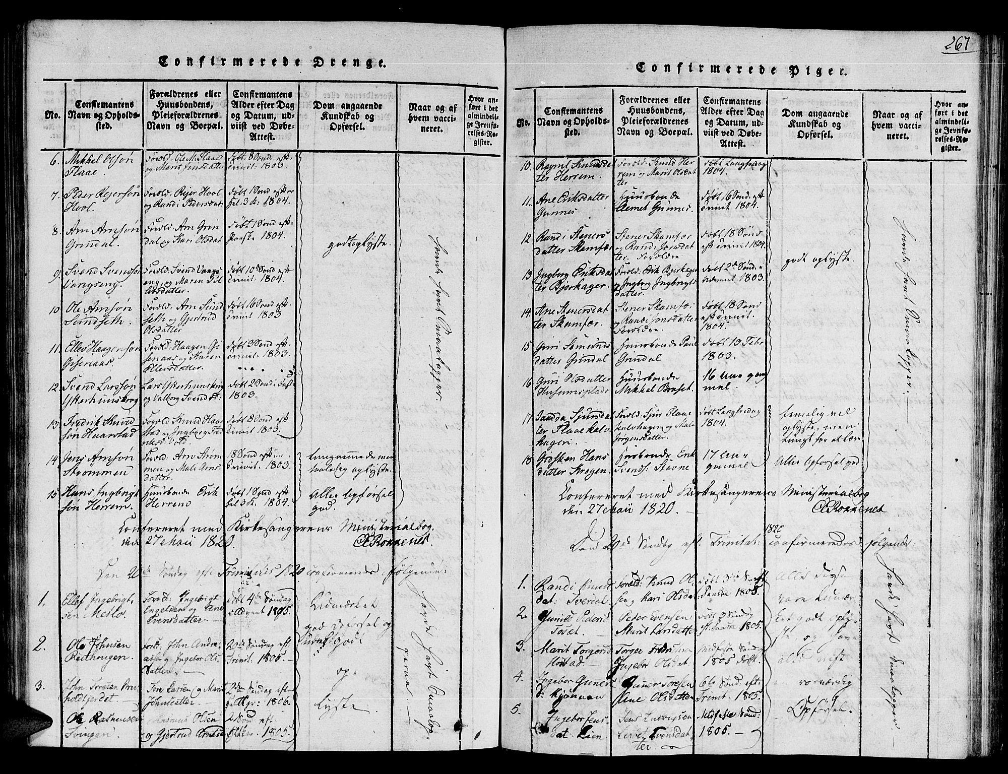 SAT, Ministerialprotokoller, klokkerbøker og fødselsregistre - Sør-Trøndelag, 672/L0854: Ministerialbok nr. 672A06 /2, 1816-1829, s. 267