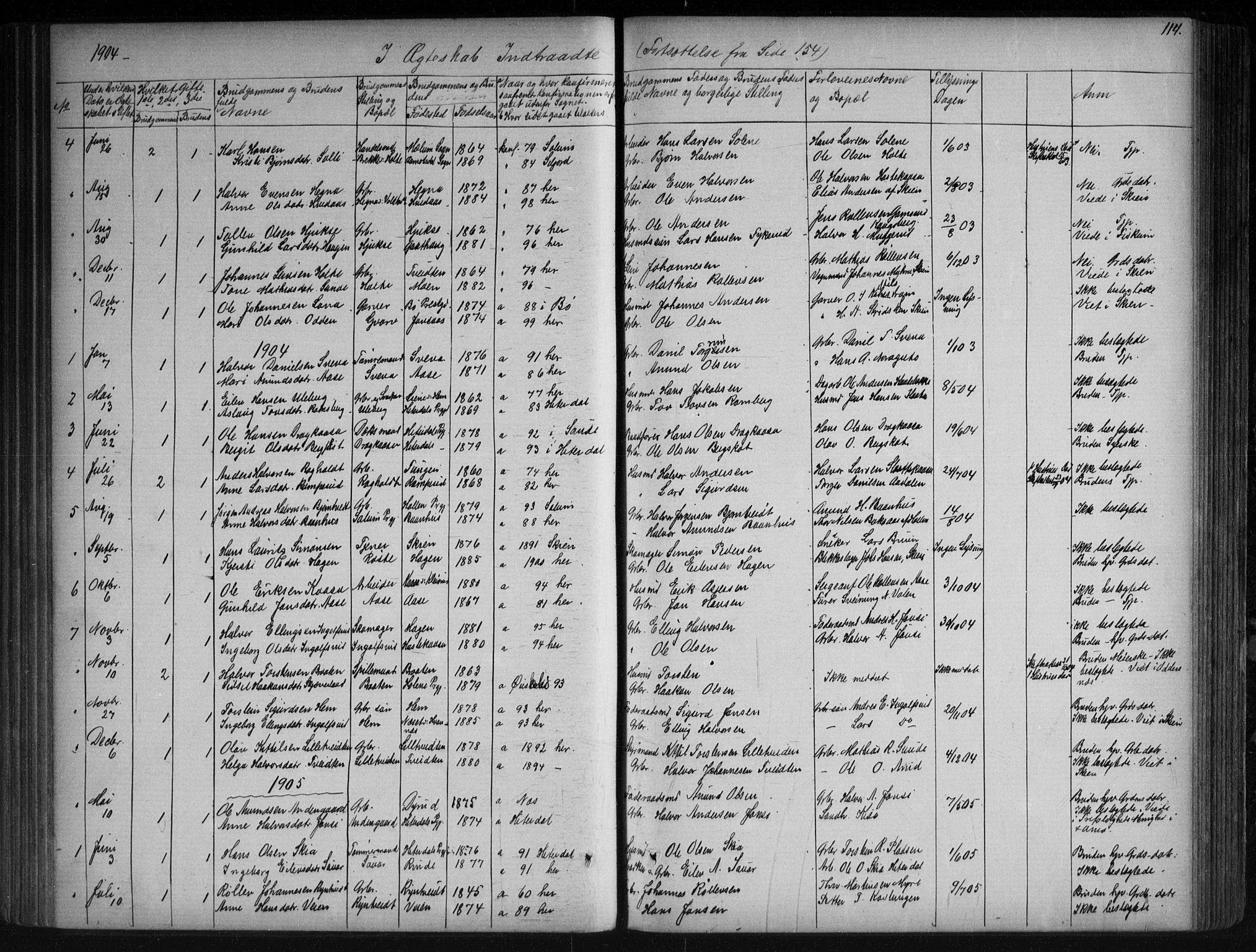 SAKO, Sauherad kirkebøker, G/Ga/L0003: Klokkerbok nr. I 3, 1866-1905, s. 114