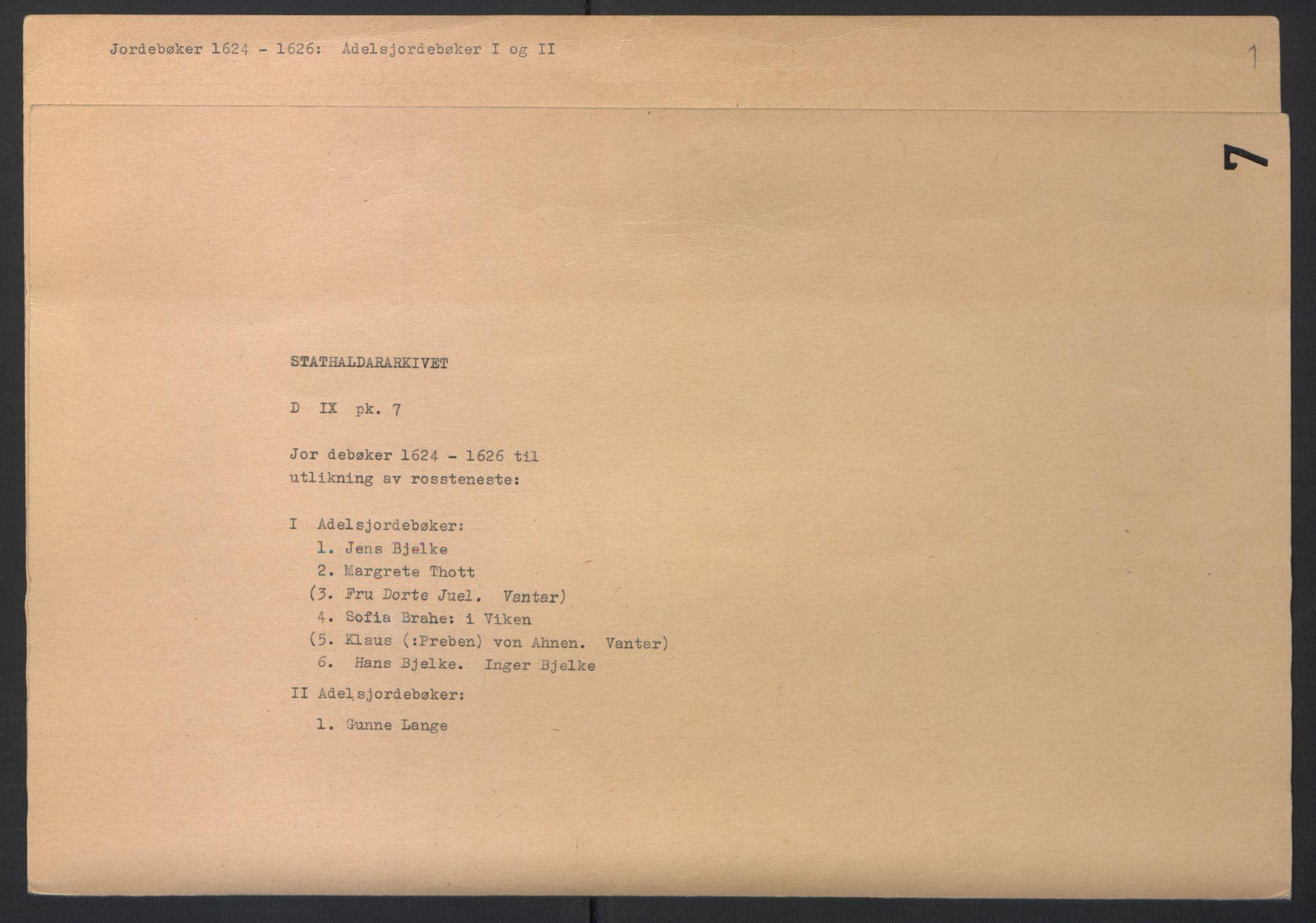 RA, Stattholderembetet 1572-1771, Ek/L0007: Jordebøker til utlikning av rosstjeneste 1624-1626:, 1624-1625, s. 2