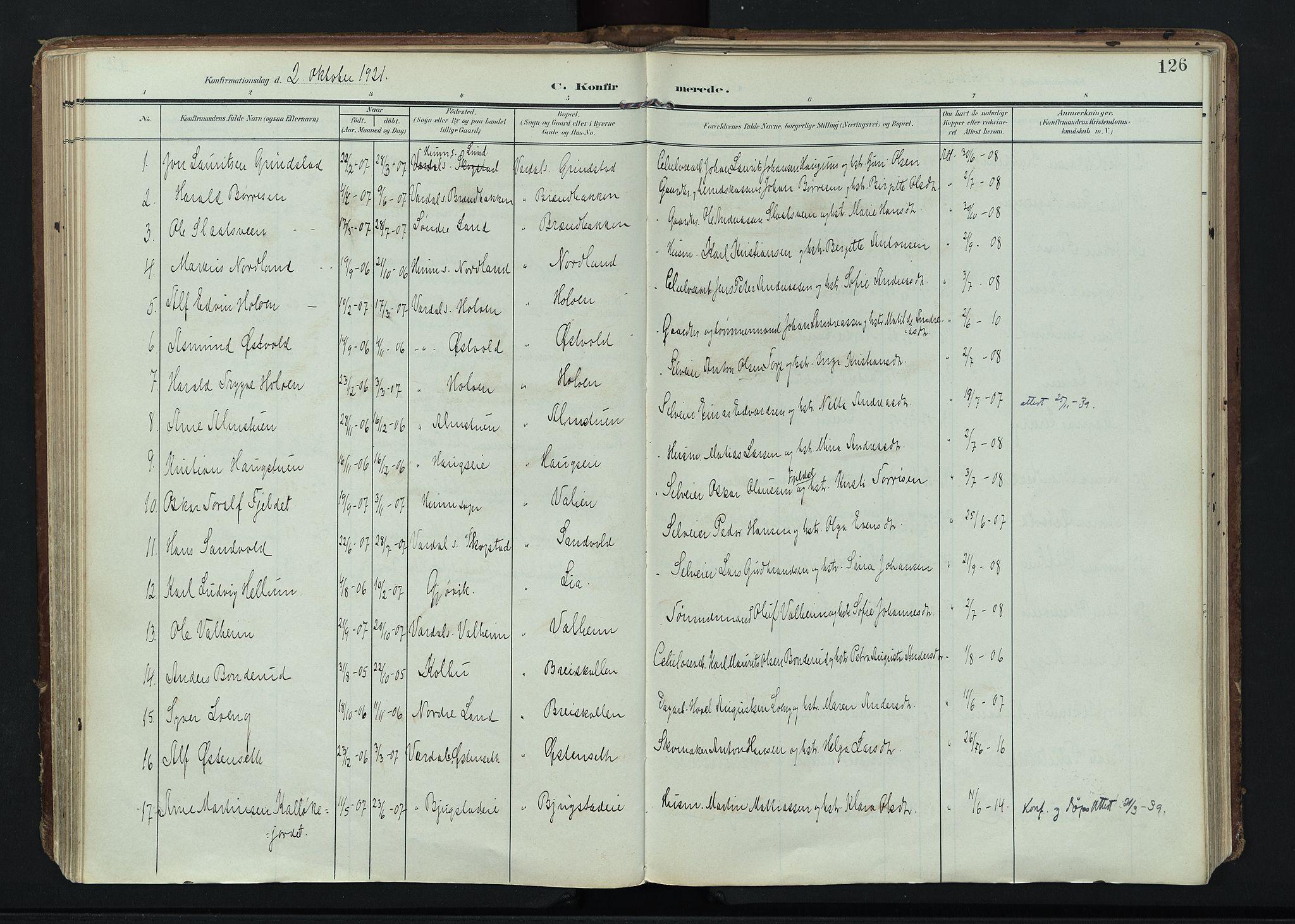 SAH, Vardal prestekontor, H/Ha/Haa/L0020: Ministerialbok nr. 20, 1907-1921, s. 126