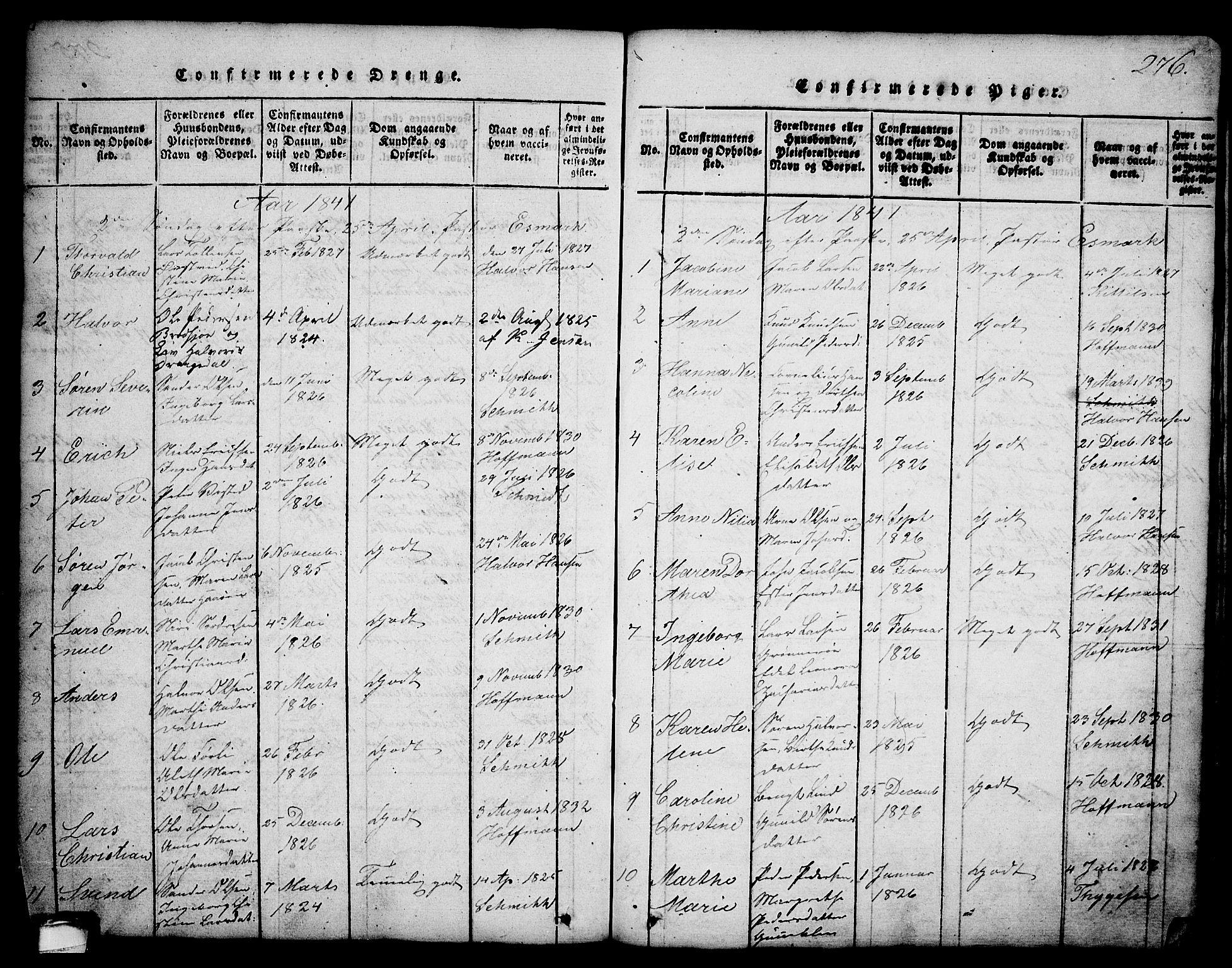 SAKO, Brevik kirkebøker, G/Ga/L0001: Klokkerbok nr. 1, 1814-1845, s. 276
