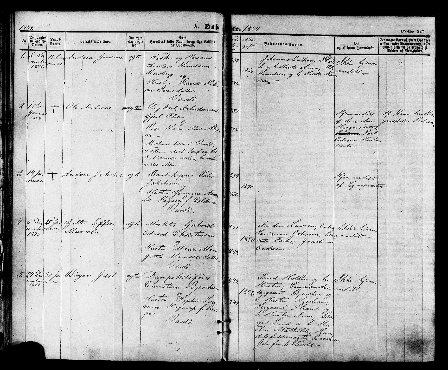 SATØ, Vardø sokneprestkontor, H/Ha/L0005kirke: Ministerialbok nr. 5, 1872-1878, s. 30
