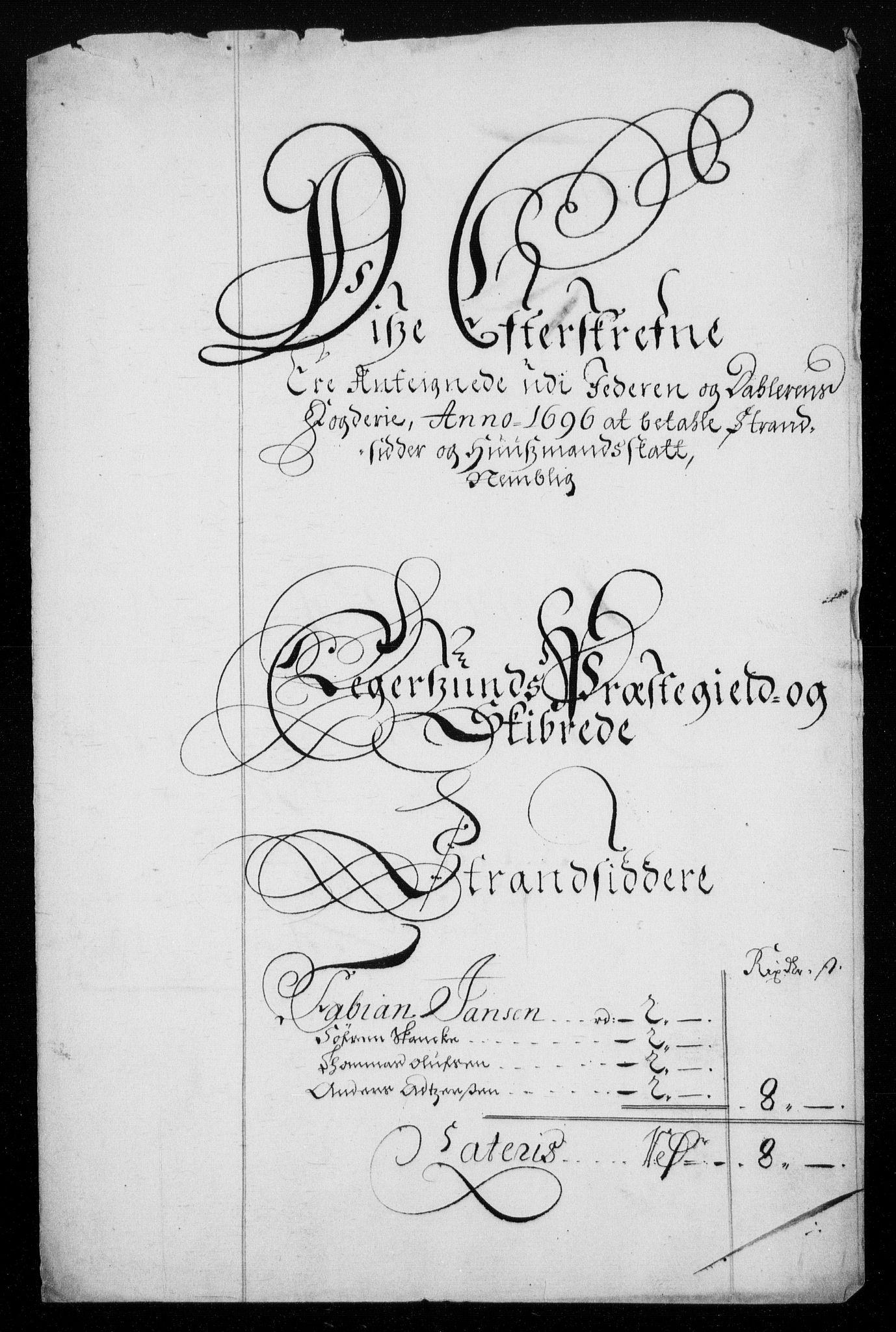 RA, Rentekammeret inntil 1814, Reviderte regnskaper, Fogderegnskap, R46/L2728: Fogderegnskap Jæren og Dalane, 1694-1696, s. 409