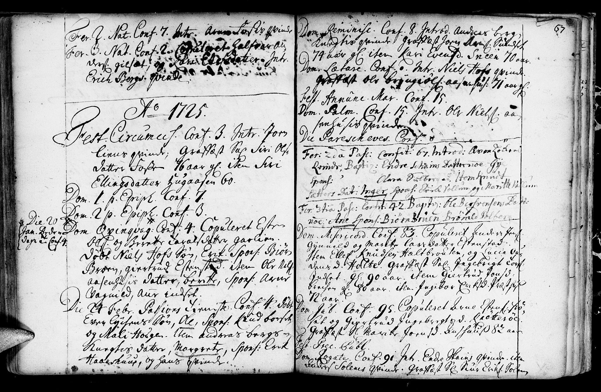 SAT, Ministerialprotokoller, klokkerbøker og fødselsregistre - Sør-Trøndelag, 689/L1036: Ministerialbok nr. 689A01, 1696-1746, s. 67