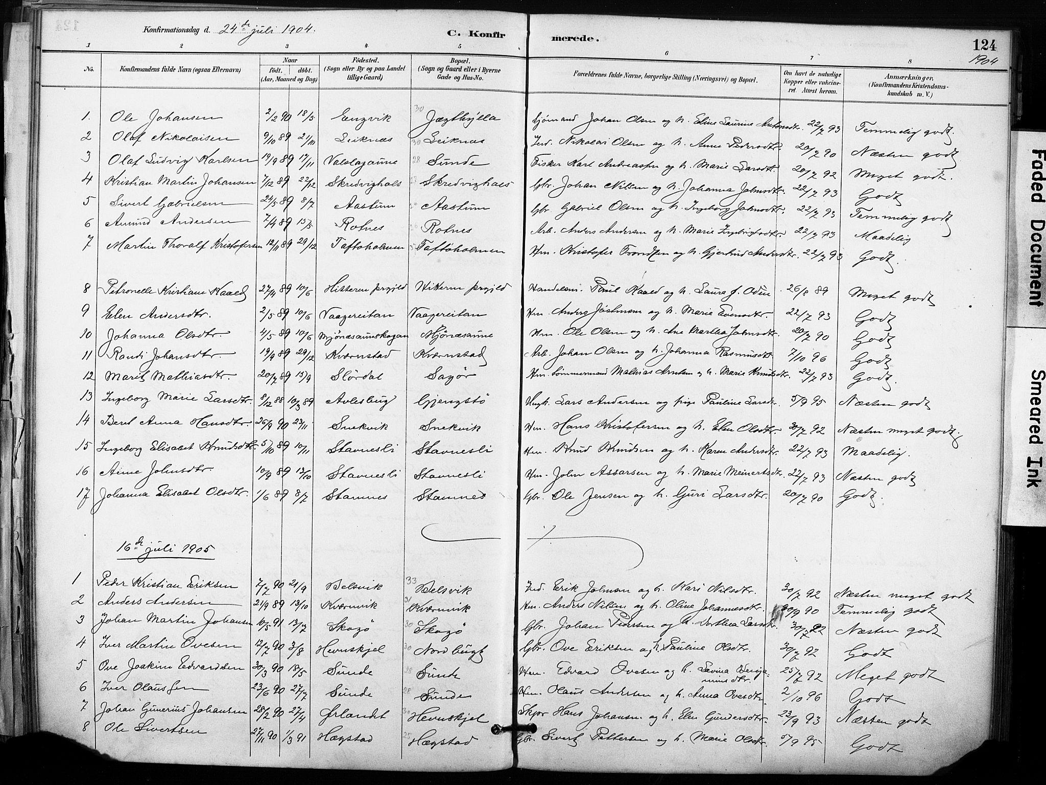 SAT, Ministerialprotokoller, klokkerbøker og fødselsregistre - Sør-Trøndelag, 633/L0518: Ministerialbok nr. 633A01, 1884-1906, s. 124
