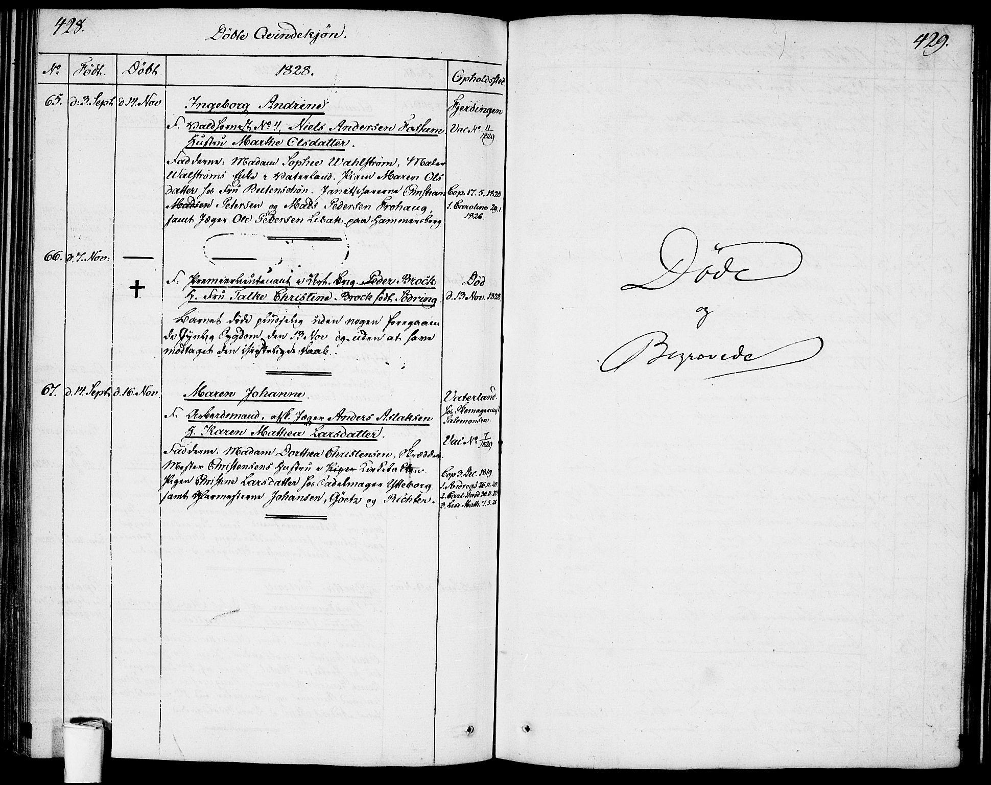 SAO, Garnisonsmenigheten Kirkebøker, F/Fa/L0004: Ministerialbok nr. 4, 1820-1828, s. 428-429