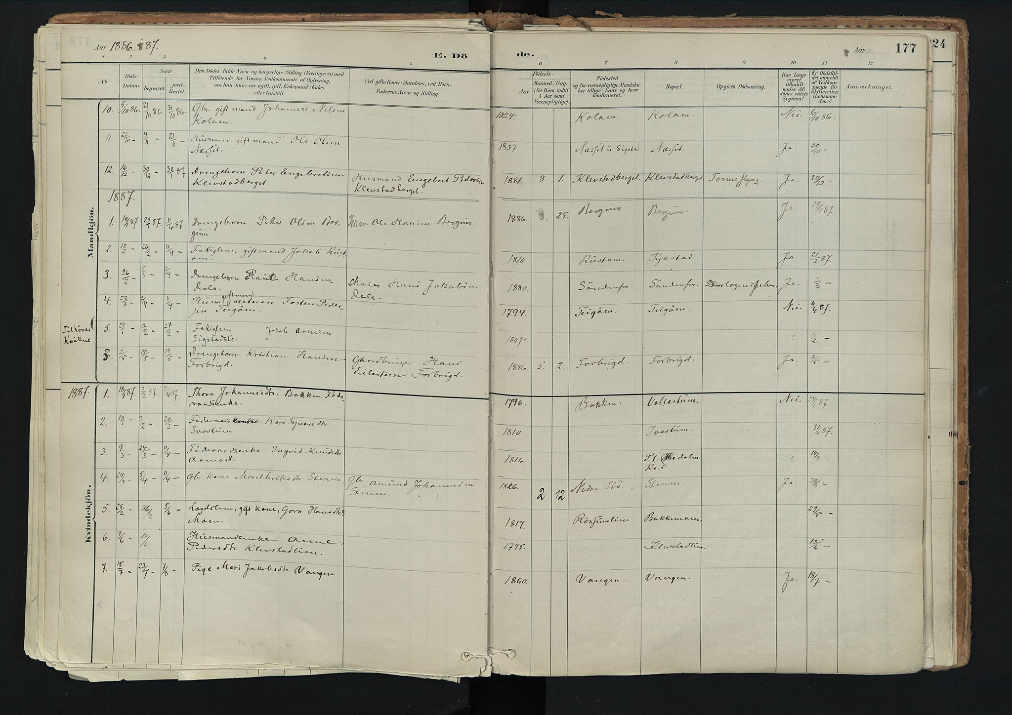 SAH, Nord-Fron prestekontor, Ministerialbok nr. 3, 1884-1914, s. 177