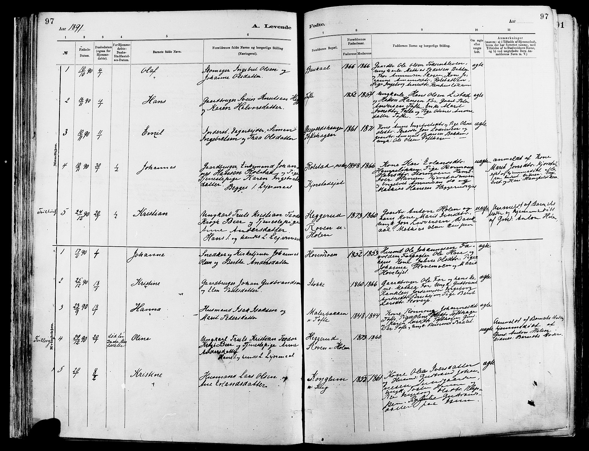 SAH, Sør-Fron prestekontor, H/Ha/Haa/L0003: Ministerialbok nr. 3, 1881-1897, s. 97