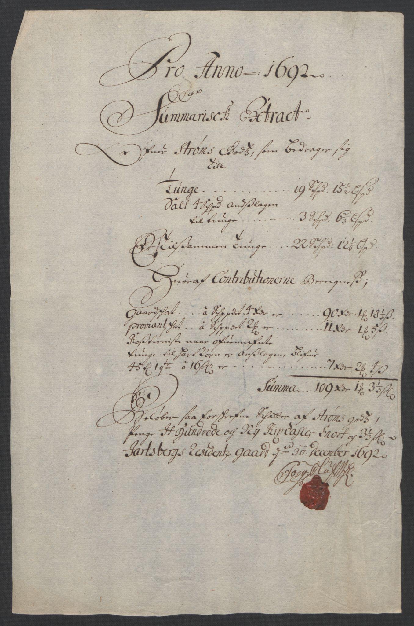 RA, Rentekammeret inntil 1814, Reviderte regnskaper, Fogderegnskap, R32/L1865: Fogderegnskap Jarlsberg grevskap, 1692, s. 17