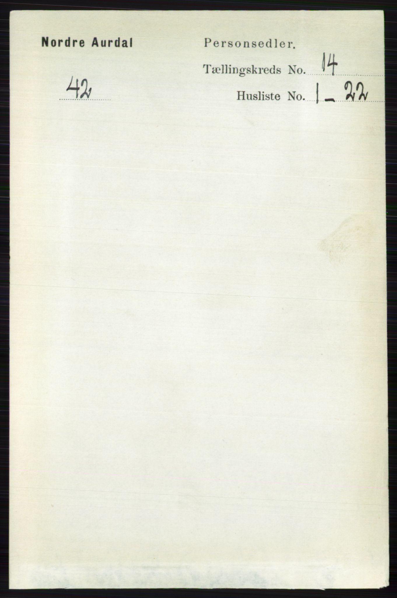 RA, Folketelling 1891 for 0542 Nord-Aurdal herred, 1891, s. 5212