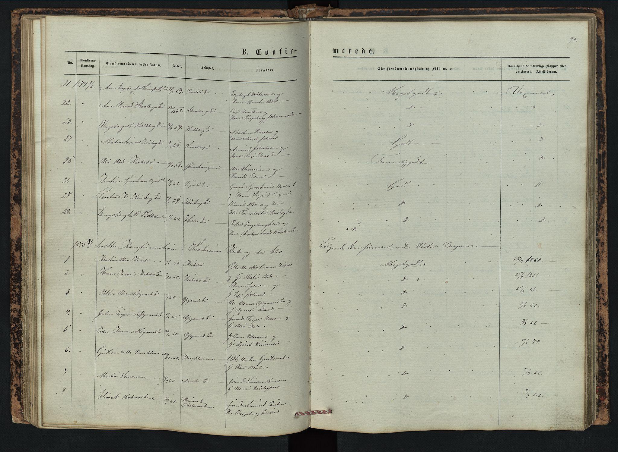 SAH, Vestre Gausdal prestekontor, Klokkerbok nr. 2, 1874-1897, s. 90