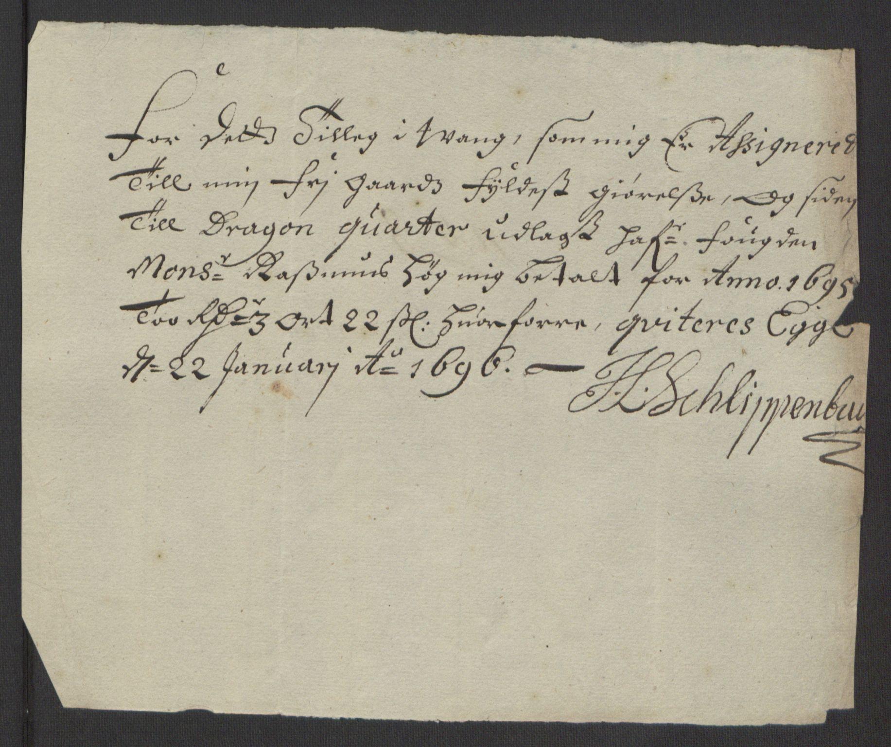 RA, Rentekammeret inntil 1814, Reviderte regnskaper, Fogderegnskap, R63/L4309: Fogderegnskap Inderøy, 1695-1697, s. 94
