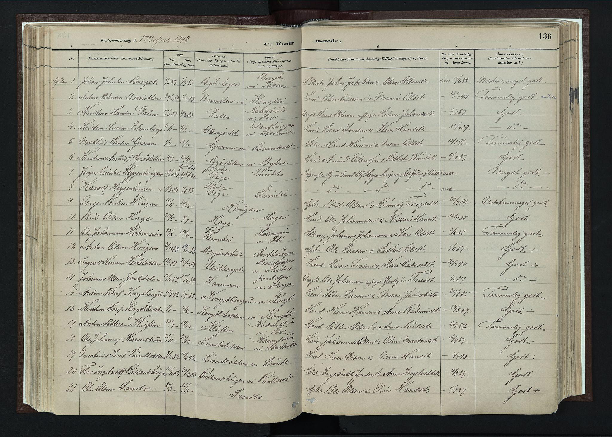 SAH, Nord-Fron prestekontor, Ministerialbok nr. 4, 1884-1914, s. 136