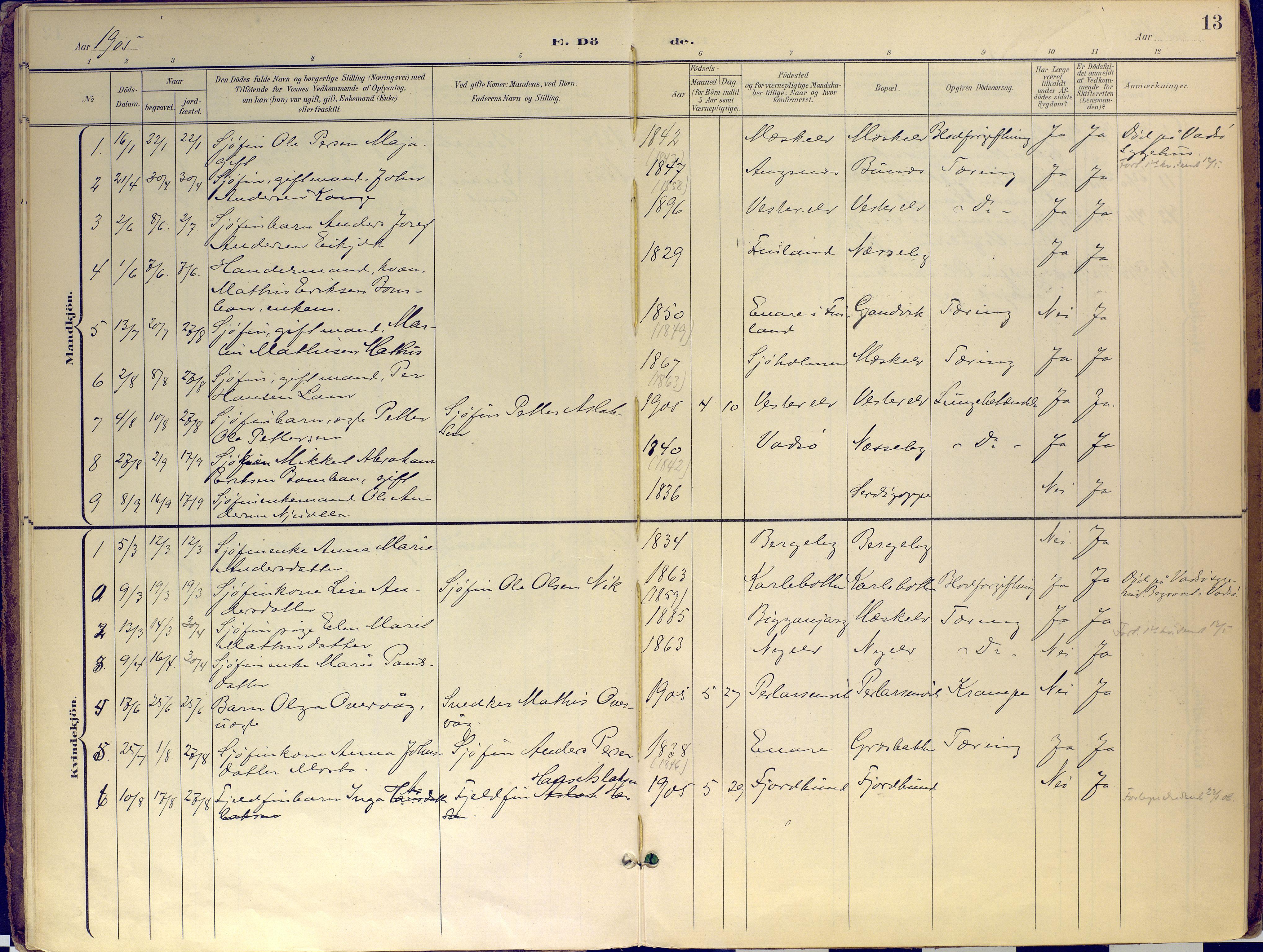 SATØ, Nesseby sokneprestkontor, H/Ha/L0007kirke: Ministerialbok nr. 7, 1898-1921, s. 13