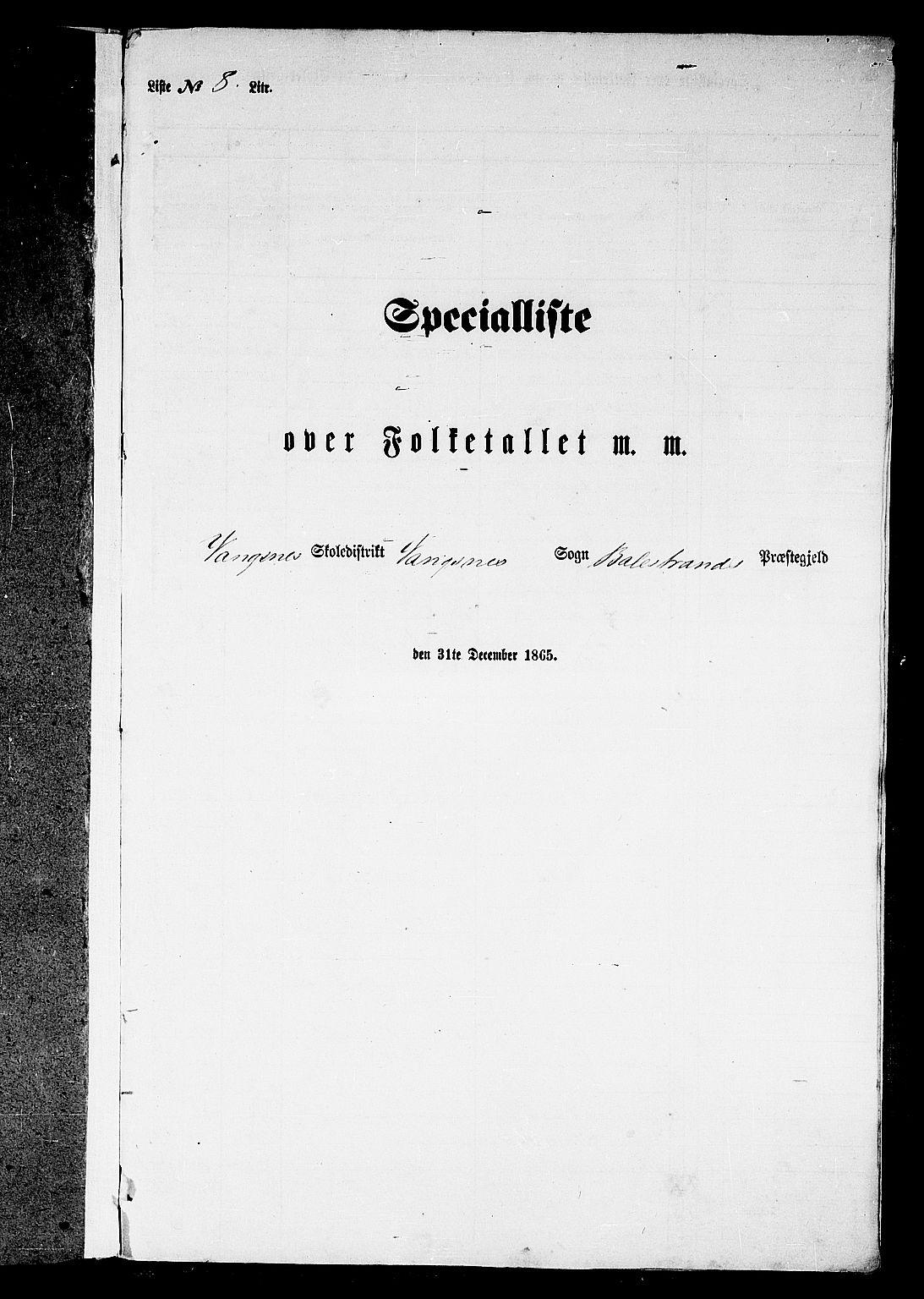 RA, Folketelling 1865 for 1418P Balestrand prestegjeld, 1865, s. 85