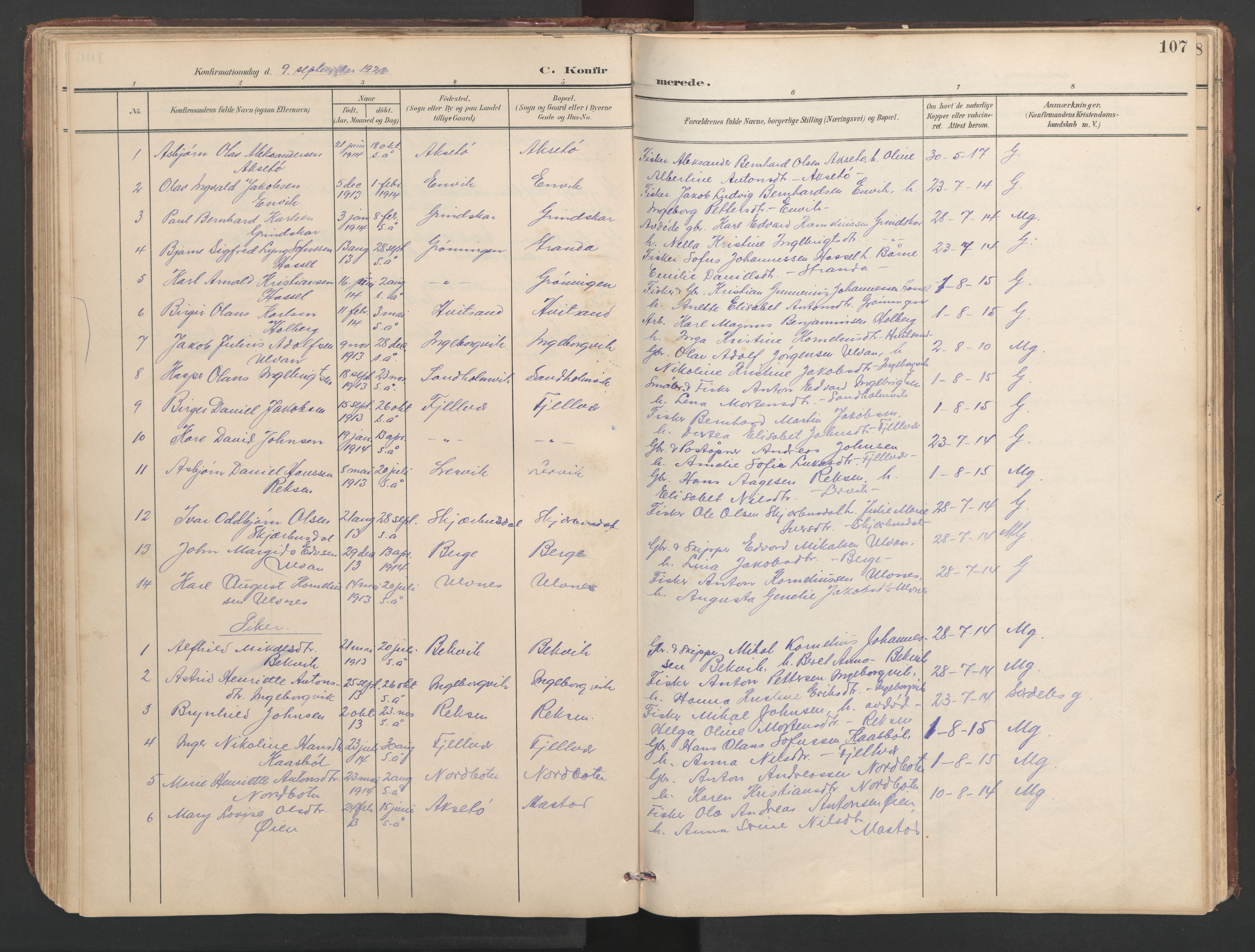 SAT, Ministerialprotokoller, klokkerbøker og fødselsregistre - Sør-Trøndelag, 638/L0571: Klokkerbok nr. 638C03, 1901-1930, s. 107