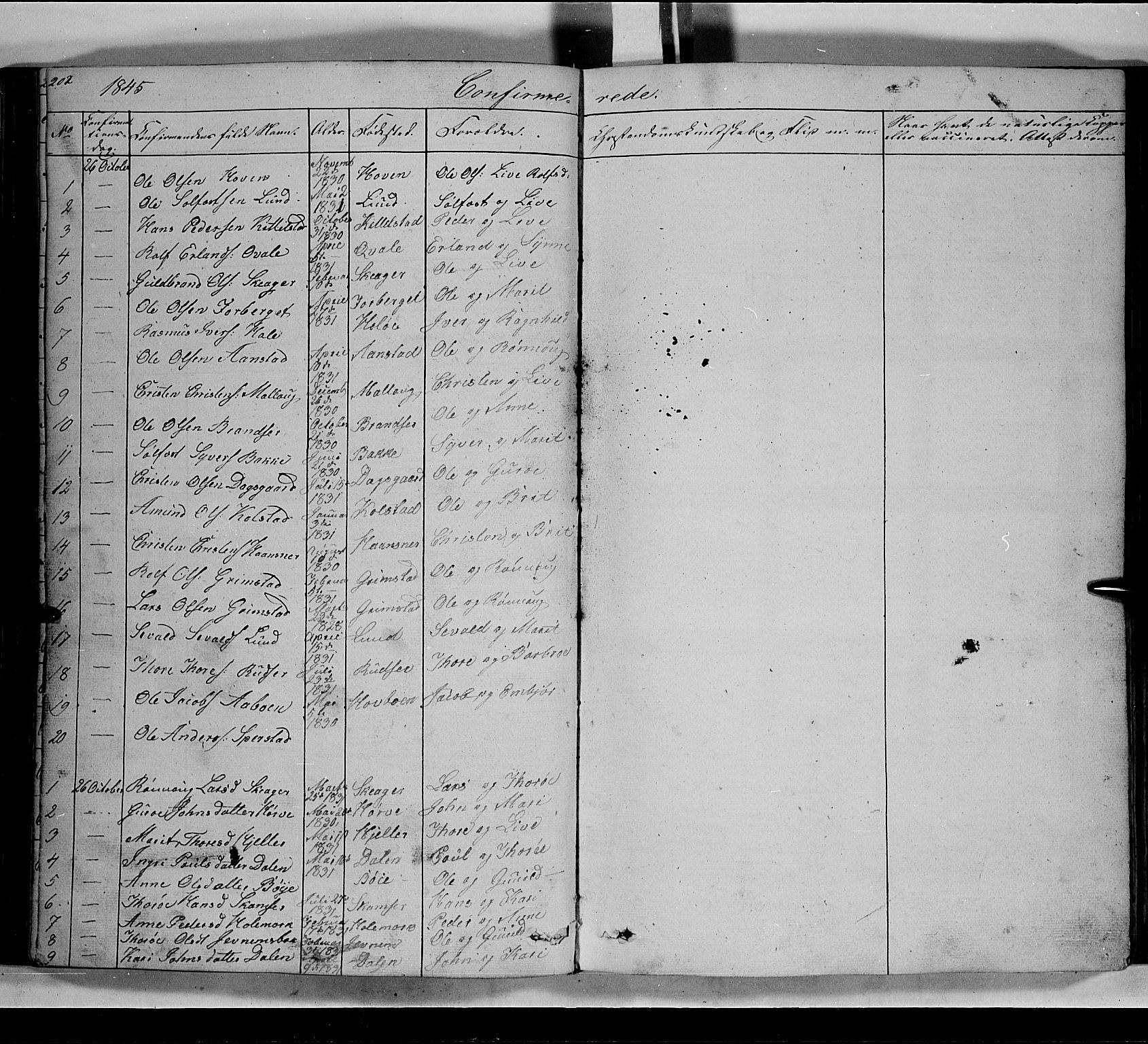 SAH, Lom prestekontor, L/L0004: Klokkerbok nr. 4, 1845-1864, s. 202-203